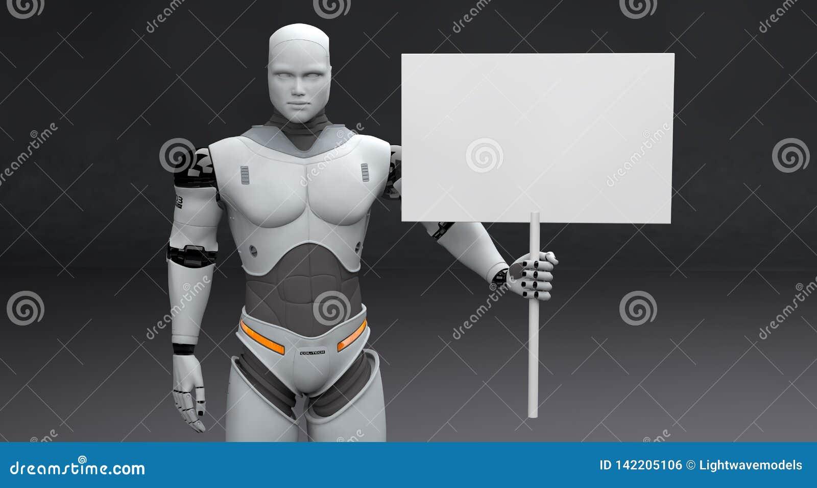 Manlig robot med det lilla samlade tomma tecknet på mörk bakgrund