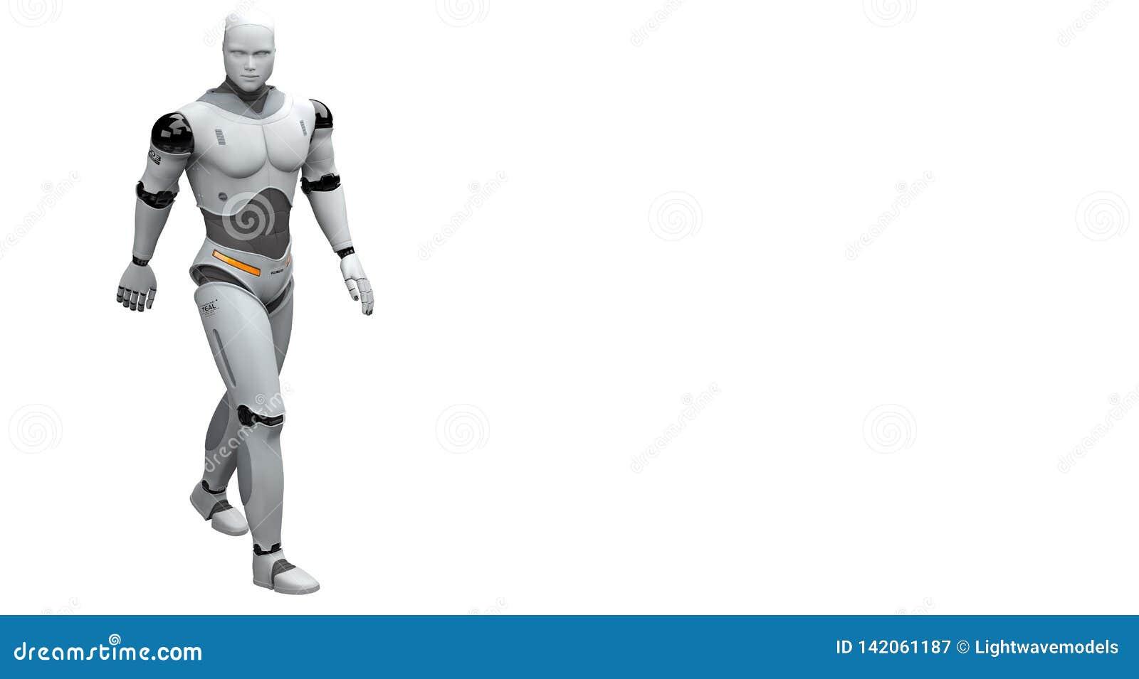 Manlig robot som går och tar en promenad