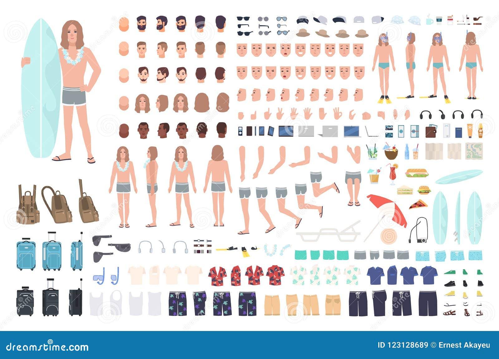 Manlig surfare eller man på semesterskapelseuppsättning eller DIY-sats Packe av kroppsdelar, sommarkläder, isolerad lopputrustnin