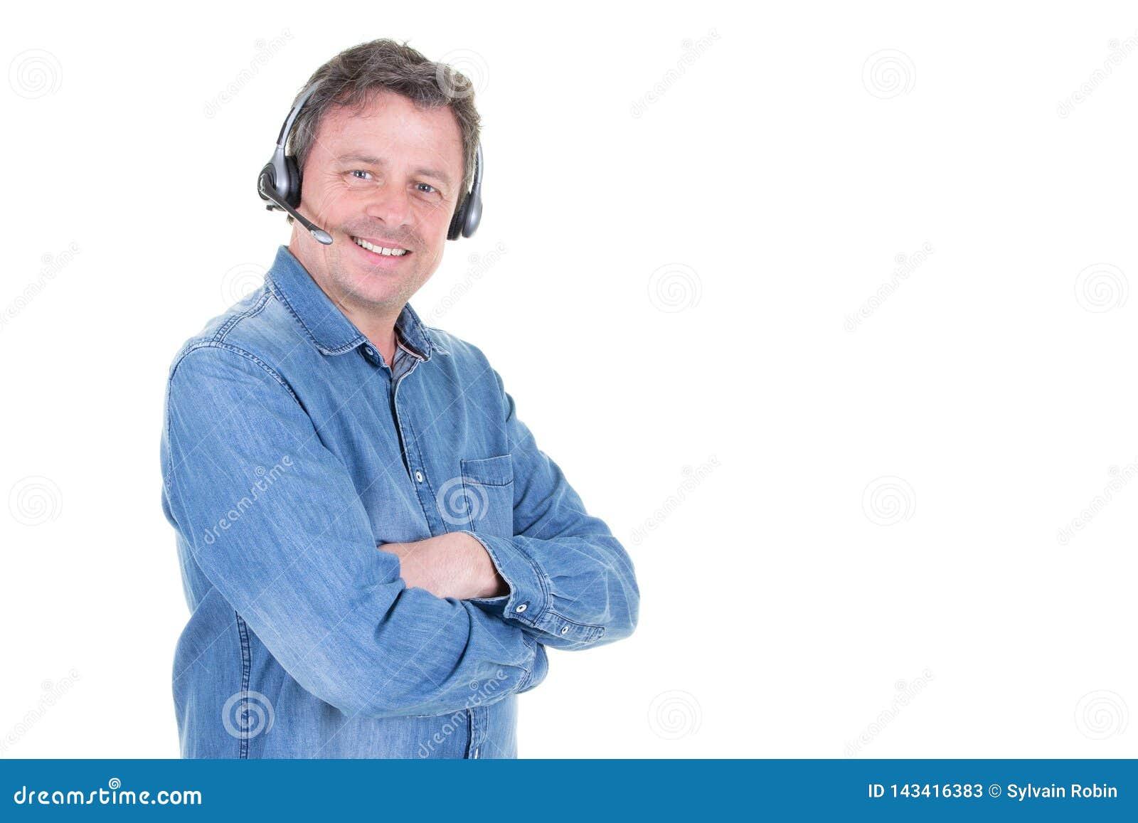Manlig telemarketer i operatör för man för appellmitt med kopieringsutrymme