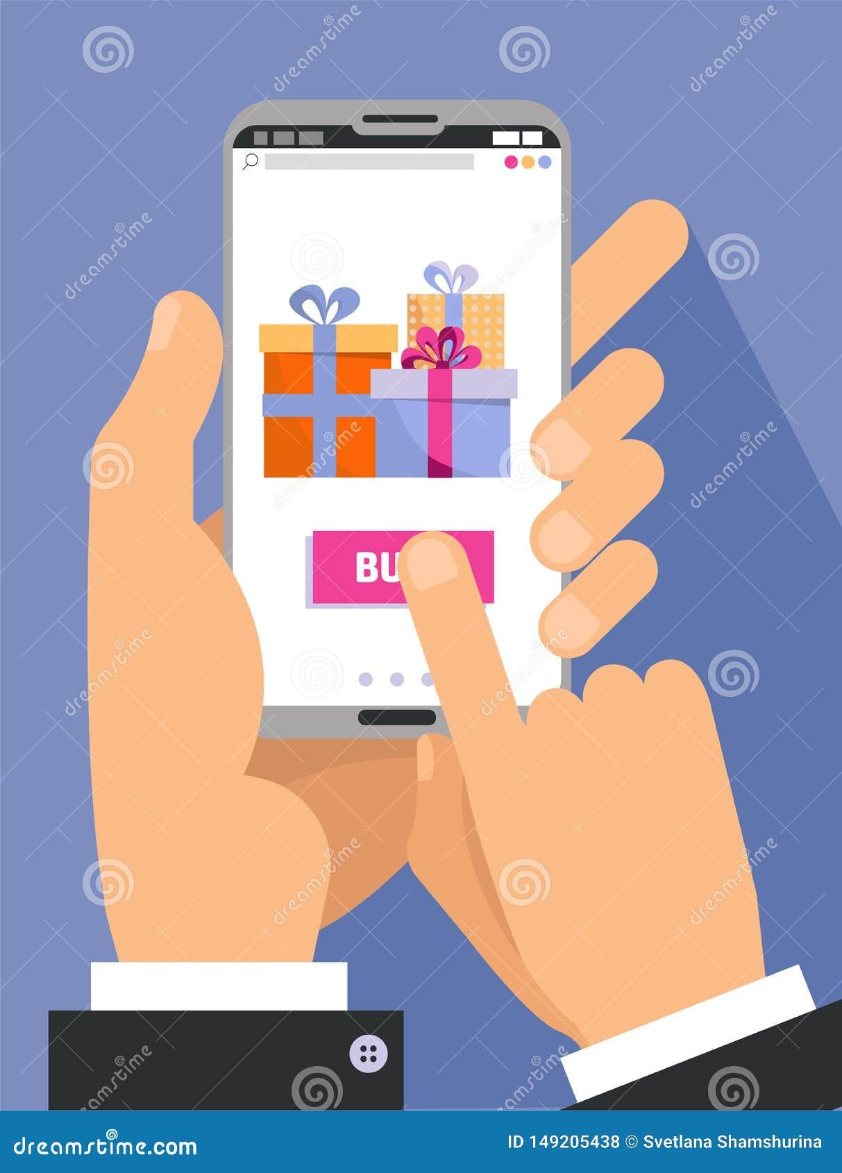 2 manliga händer i dräktinnehavsmartphone med gåvaaskar på skärmen Fingra handlaget köpknappen Ferieonline-shopping
