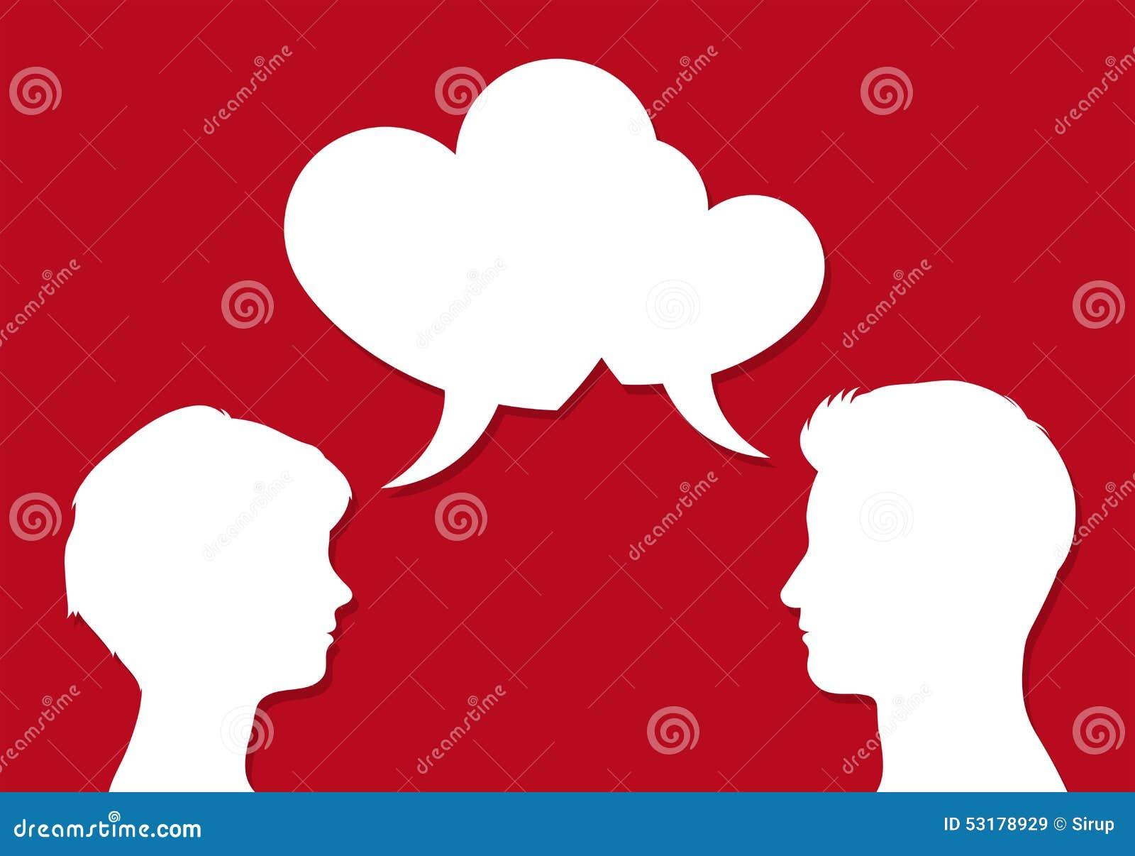 Manliga och kvinnliga huvud med hjärtaanförande bubblar