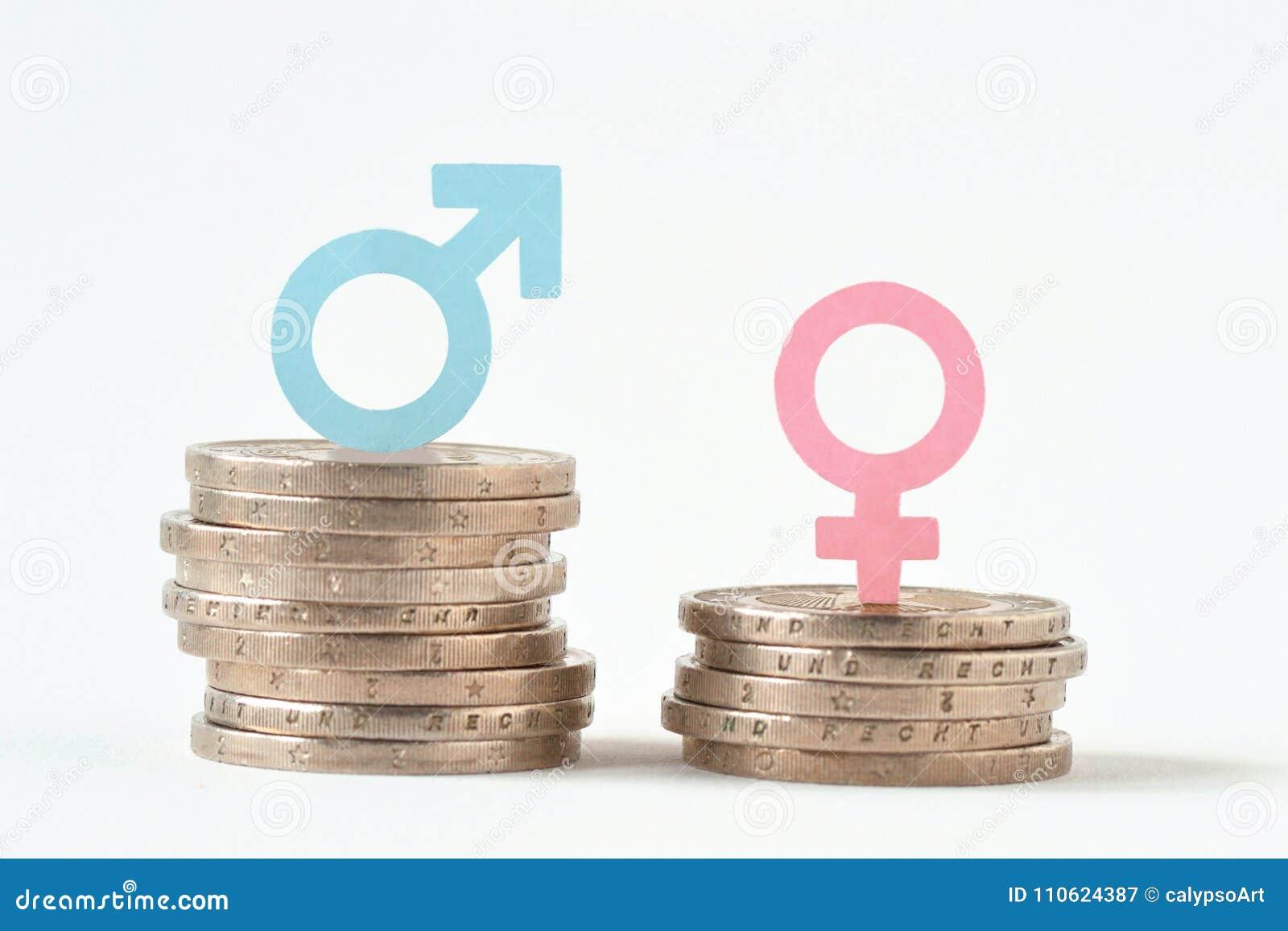 Manliga och kvinnliga symboler på högar av mynt - genuslönjämställdhet