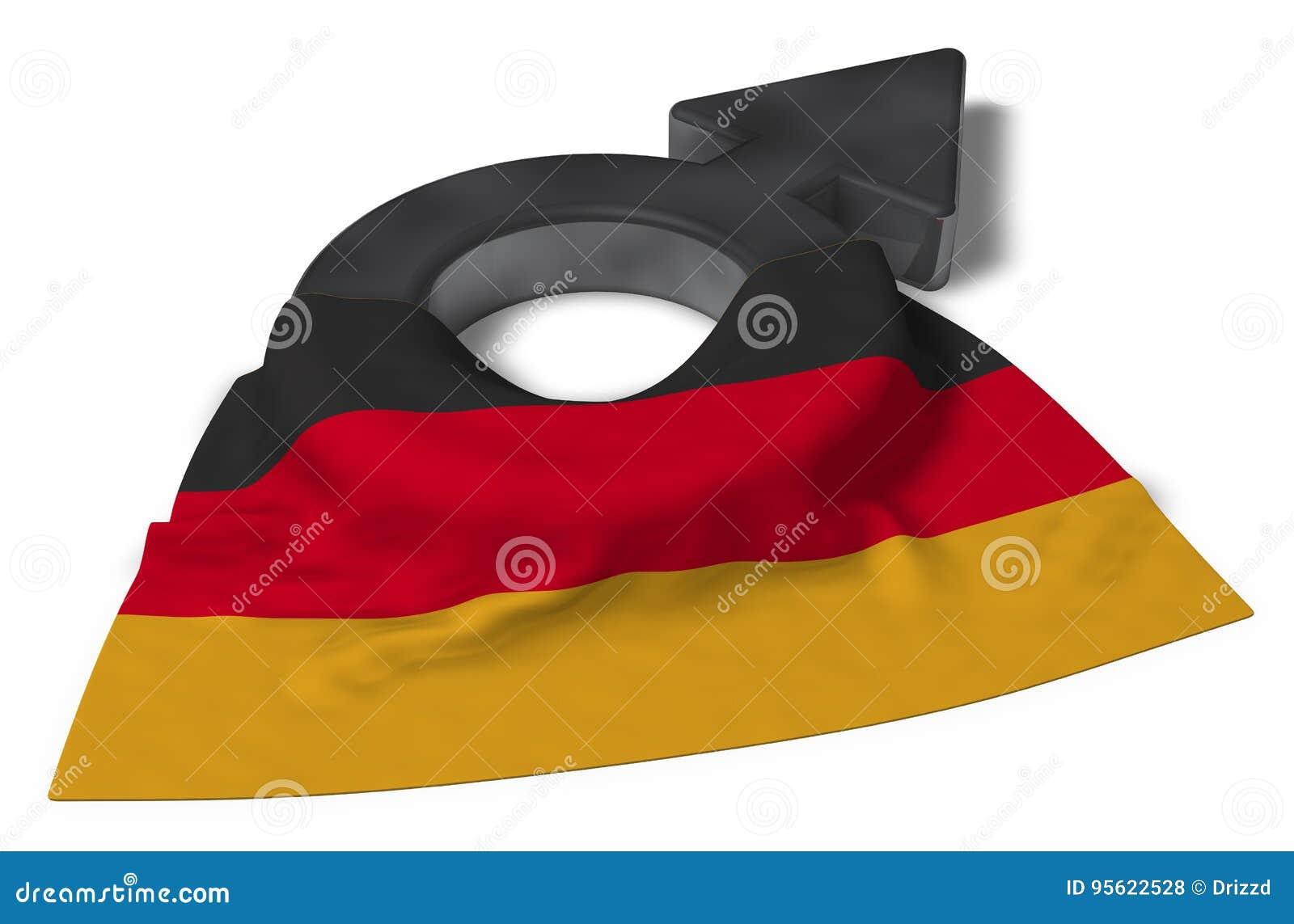 Manligt symbol och flagga av Tyskland