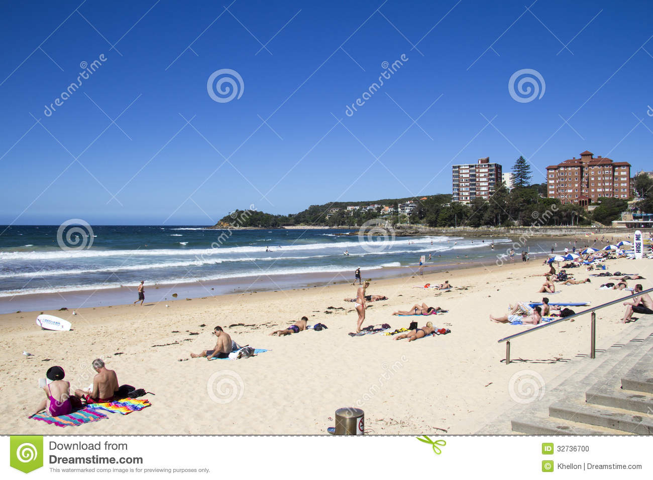Manly Beach Sydneyaustralia March 13th People Relaxing On The
