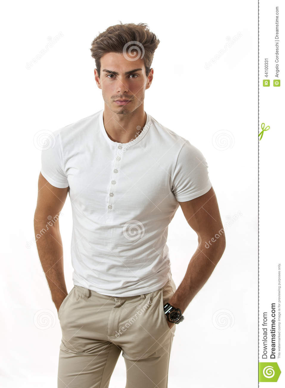 Manly Male Model Trendy Hairstyle Stock Photo Image