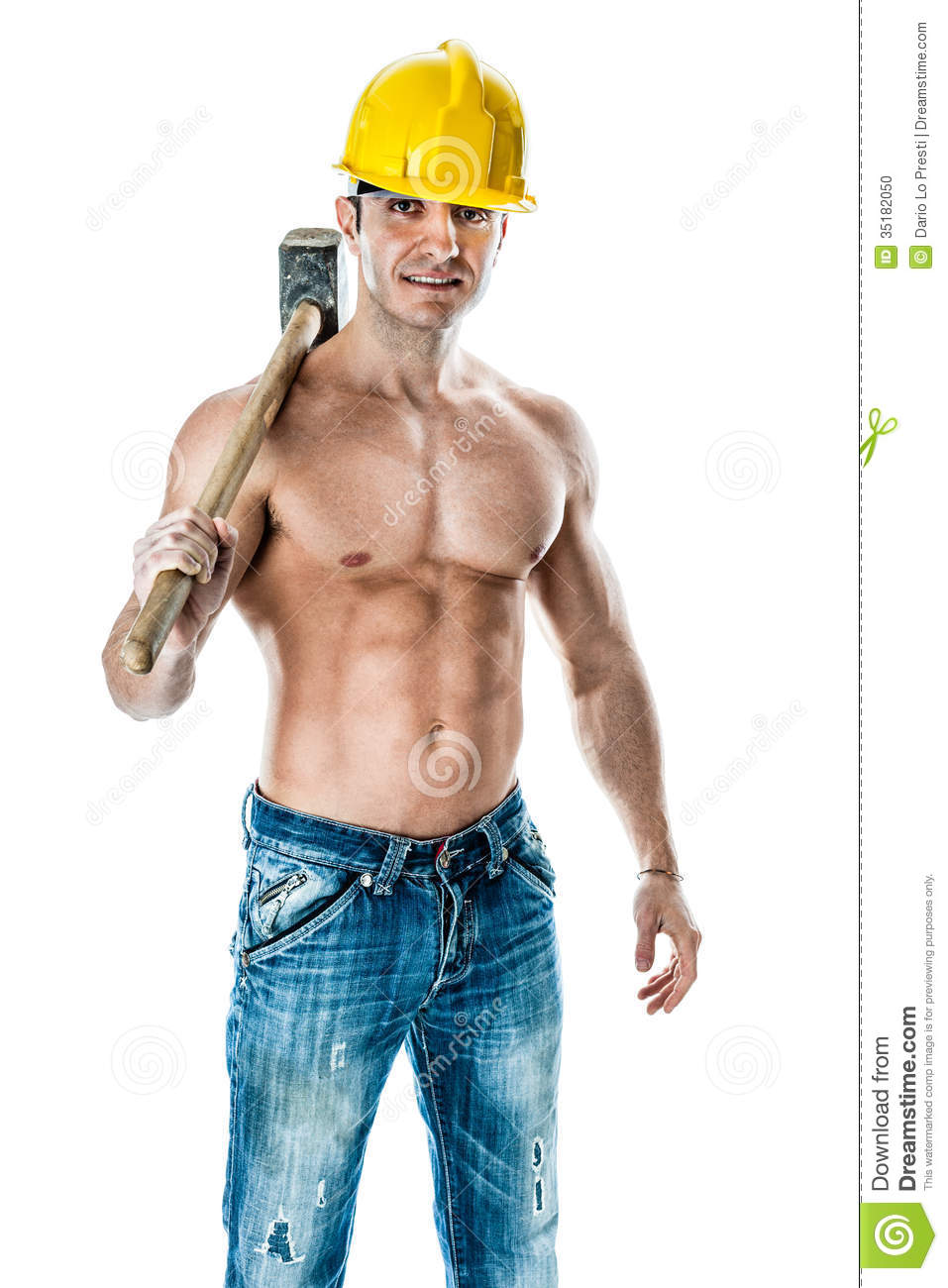 very muscular and handsome manual worker with a sludgehammer and a ...