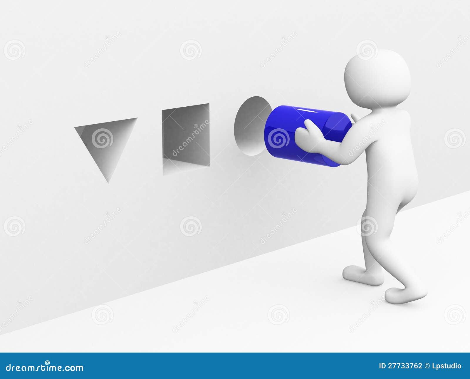 Mann 3d mit blauem Zylinder