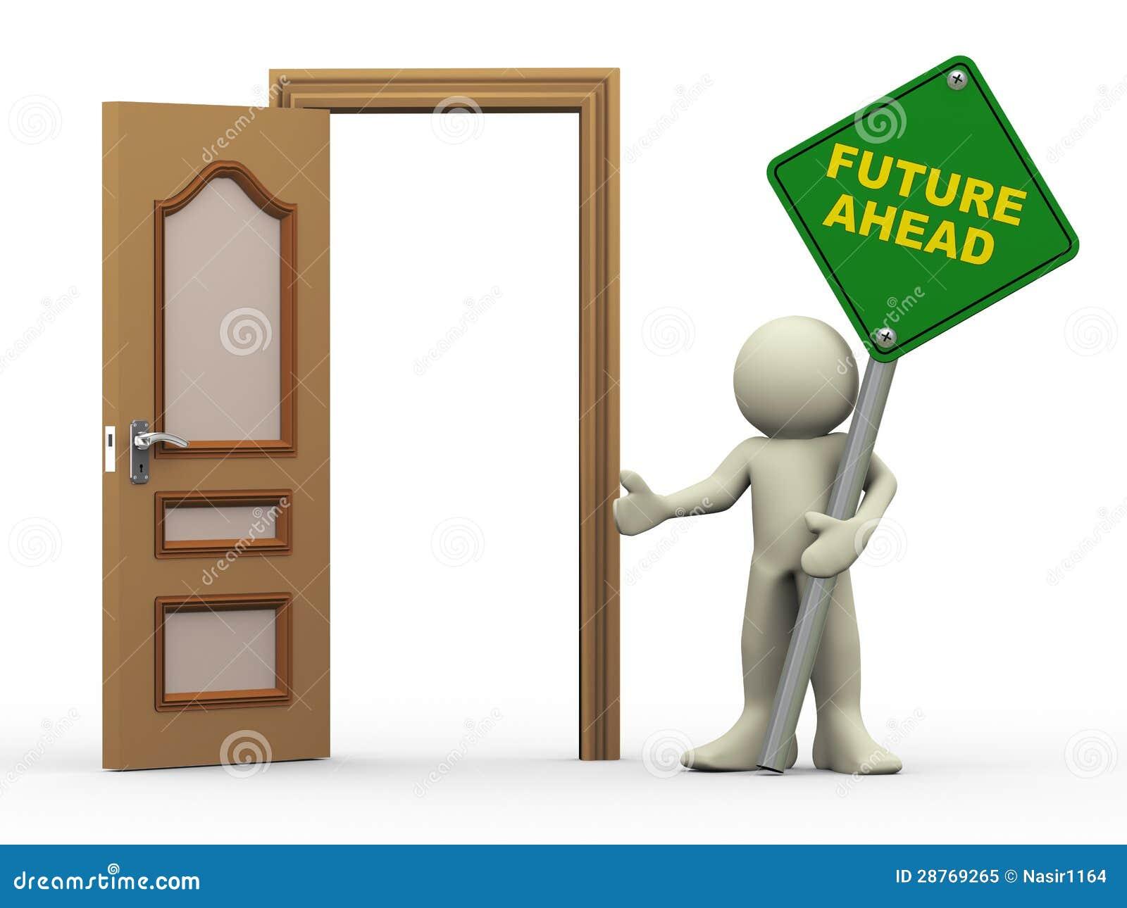 Mann 3d, offene Tür und Zukunft voran kennzeichnet