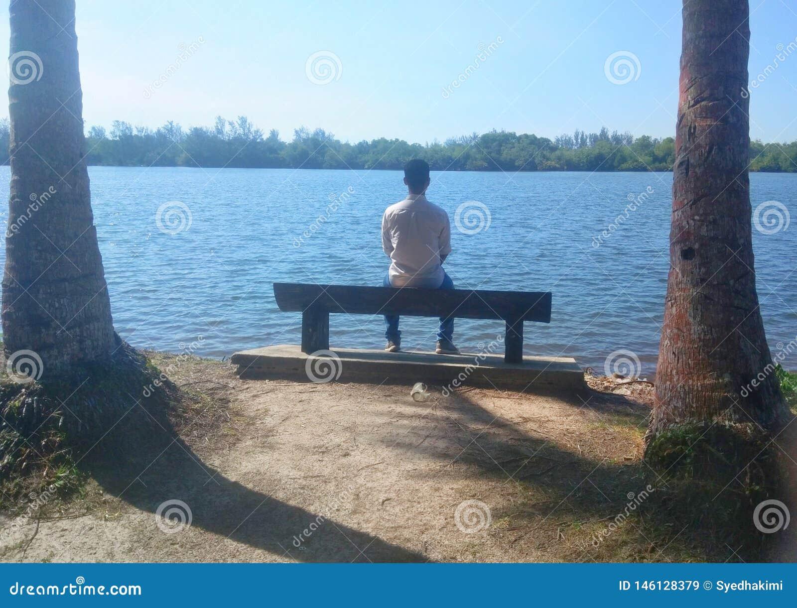 Mann allein, der auf Bank vor See unter der Sonnen- und Palme - Bild sitzt