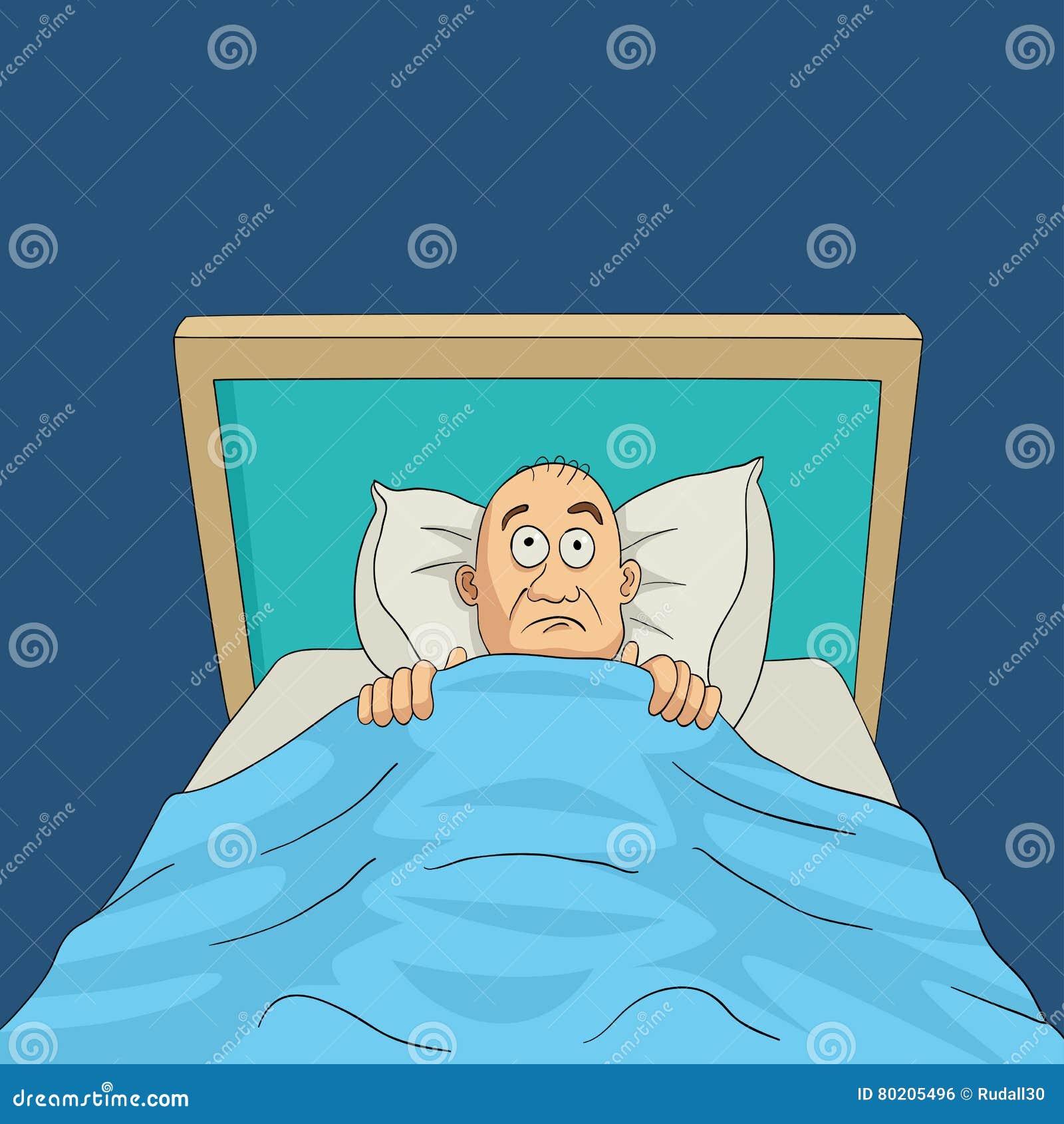 Mann Auf Bett Mit Breiter Offener Karikatur Der Augen Vektor