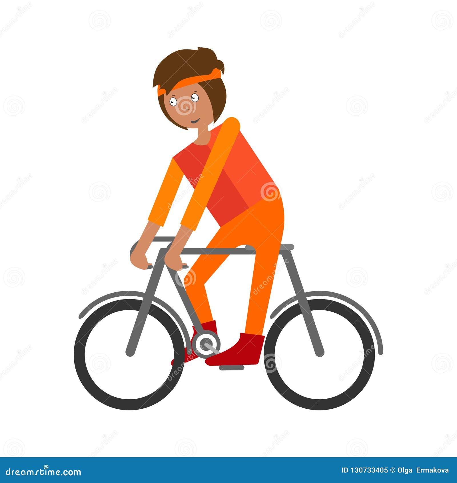 Mann auf Fahrrad Radfahrer-Fahrradfahrt Illustration des Vektors auf Lager lokalisiert auf weißem Hintergrund