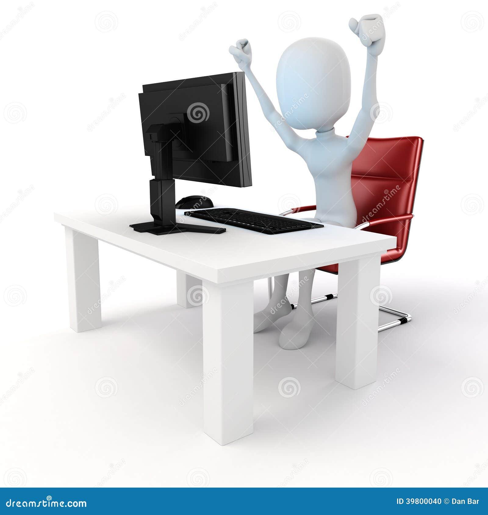 Mann 3d, der an Computer arbeitet