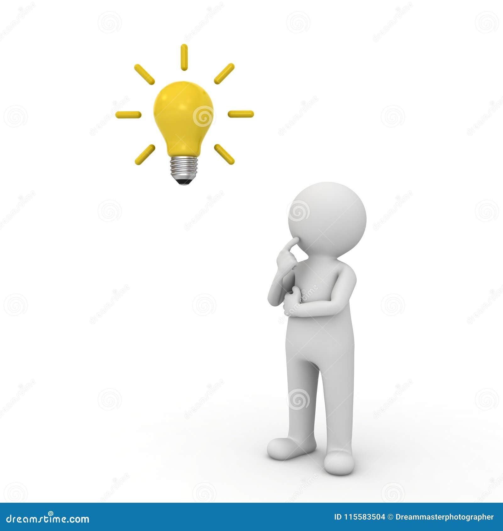 Mann 3d, der mit Ideenbirne über seinem Kopf lokalisiert über weißem Hintergrund denkt