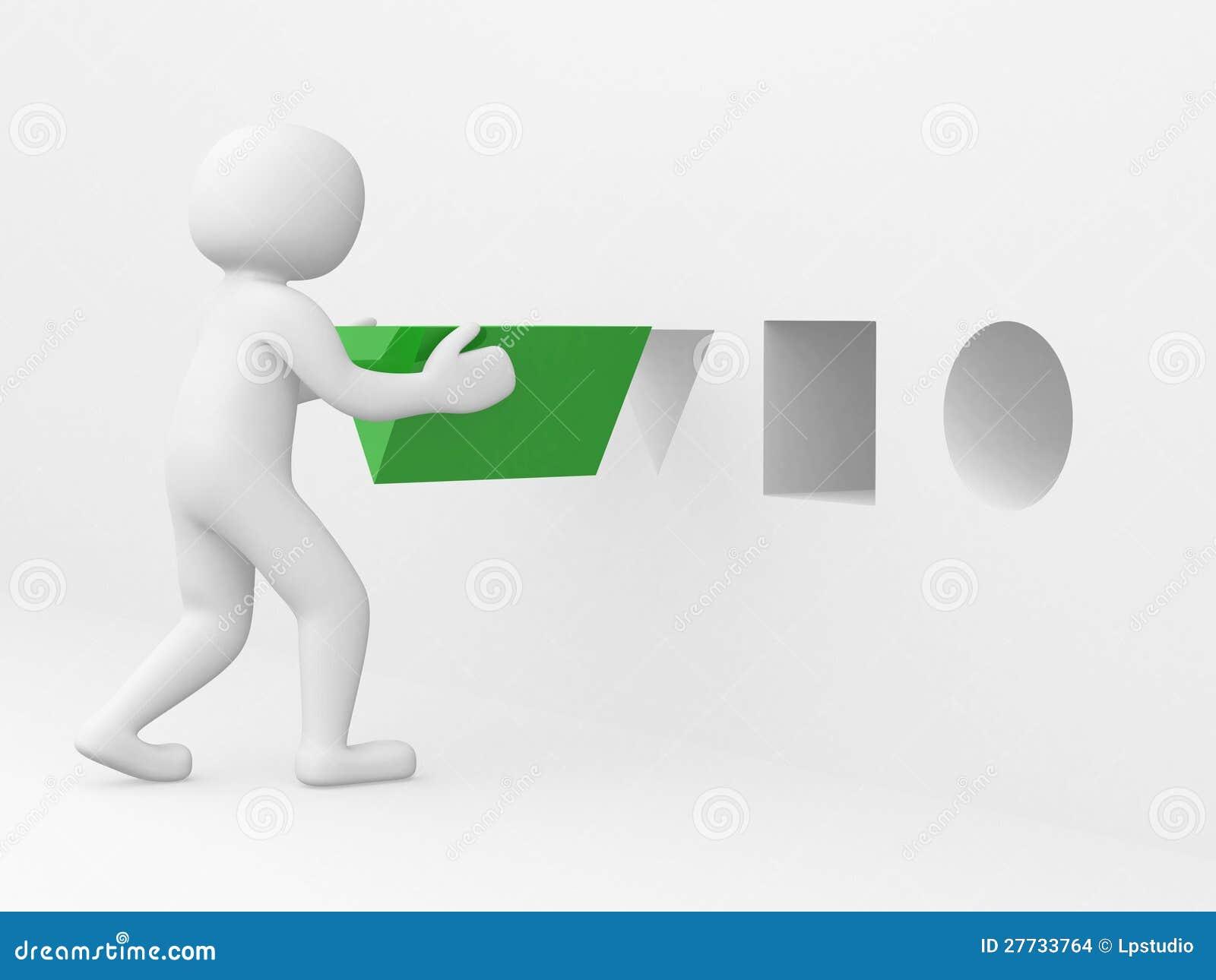 Mann 3d mit grünem Dreieck