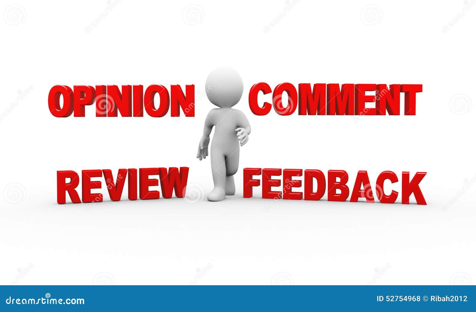 Mann 3d mit Kommentarfeedbackmeinung