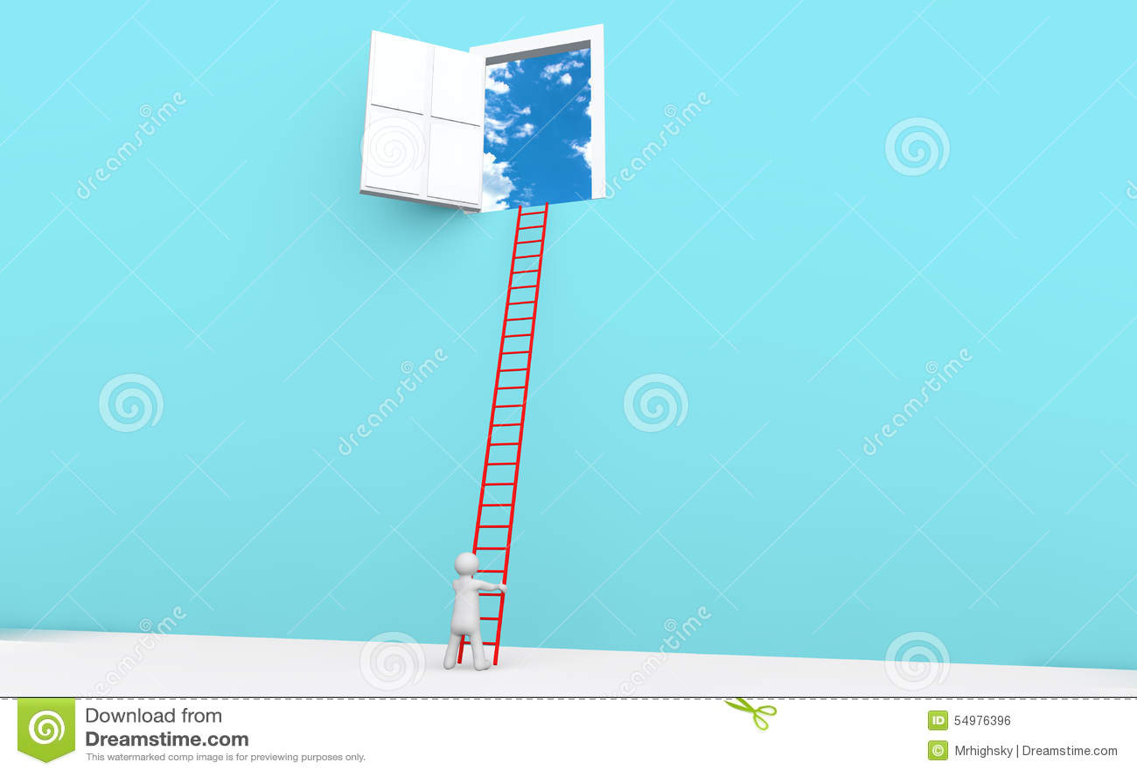 Mann 3d mit Leiter zu einer Tür im Himmel