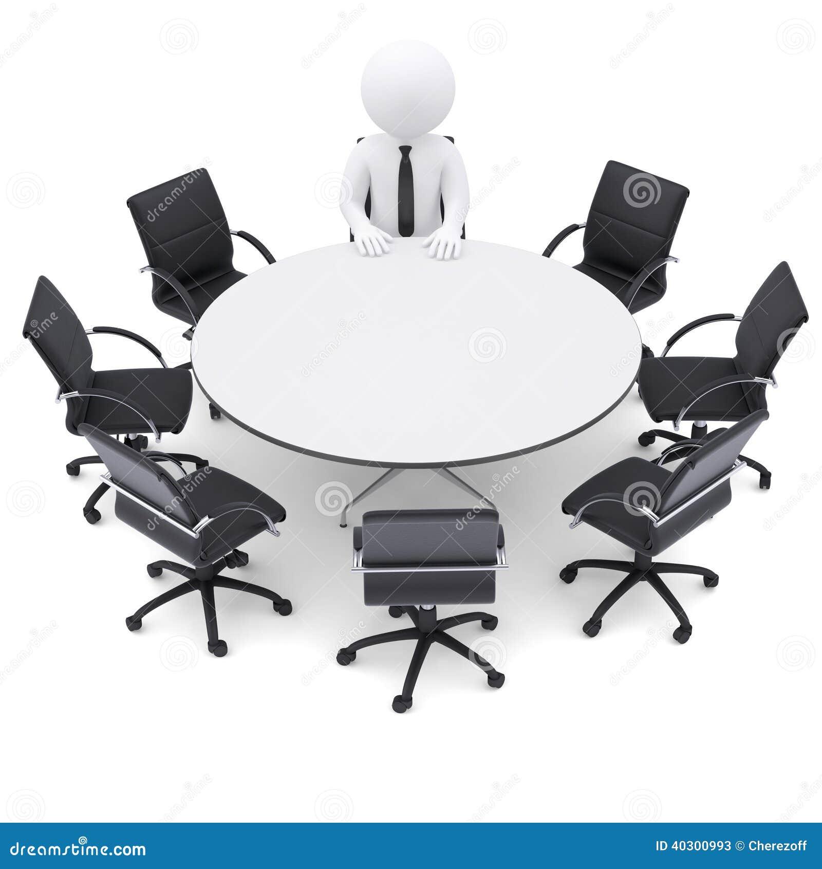 Mann 3d Am Rundtisch. Sieben Leere Stühle Stock Abbildung ...
