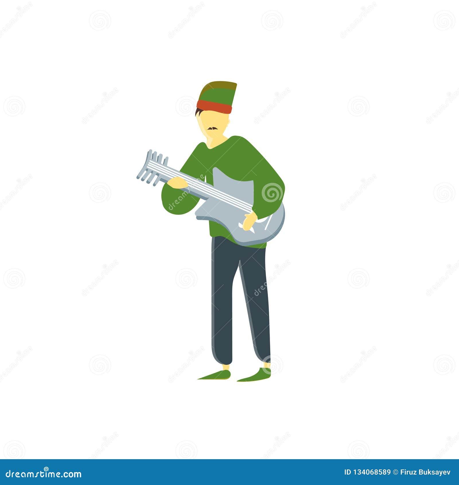 Mann, der das Gitarrenvektorvektorzeichen und -symbol lokalisiert auf weißem Hintergrund, Mann spielt Gitarrenvektor-Logokonzept