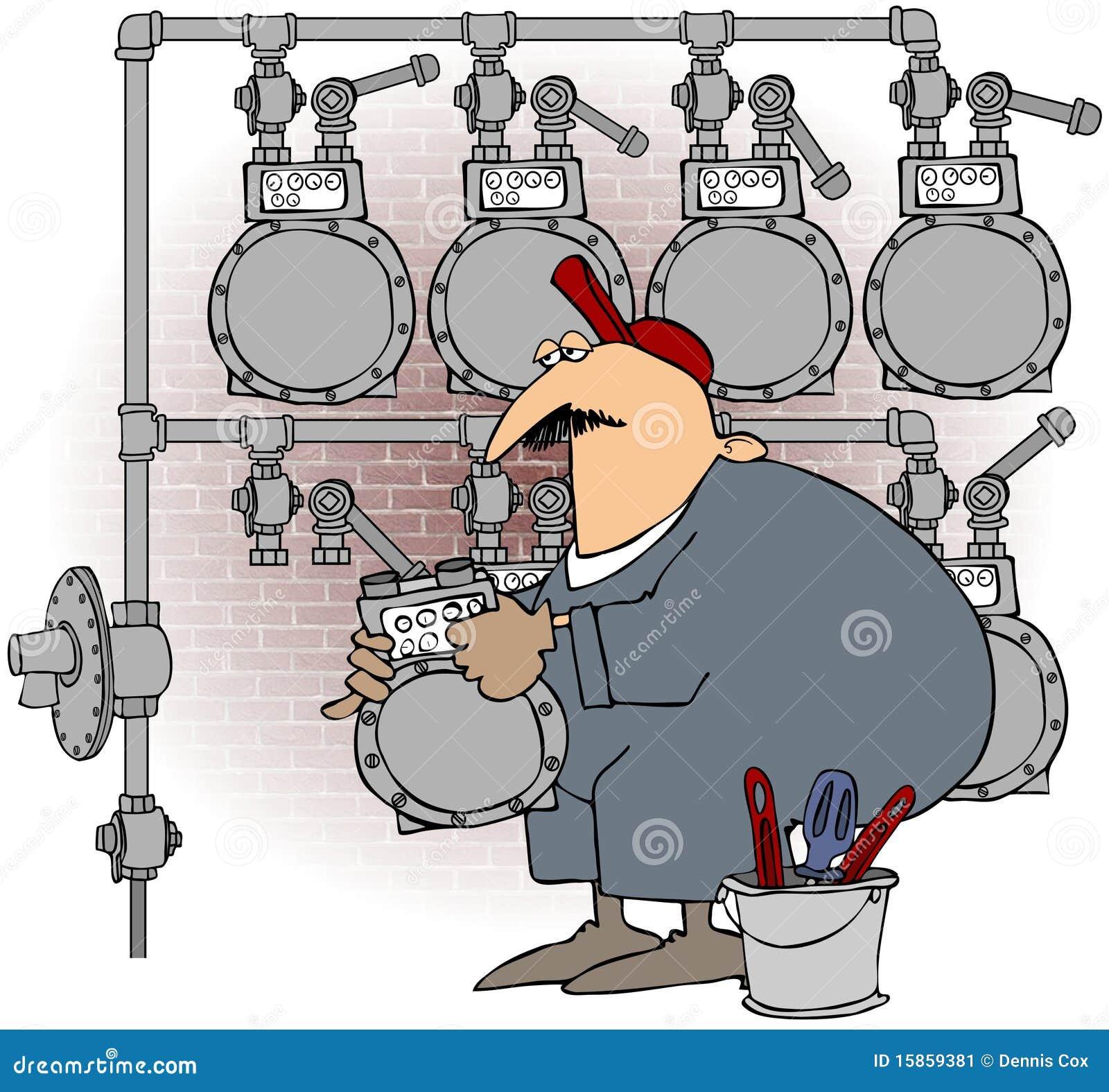 Mann, der ein Gas-Messinstrument ändert