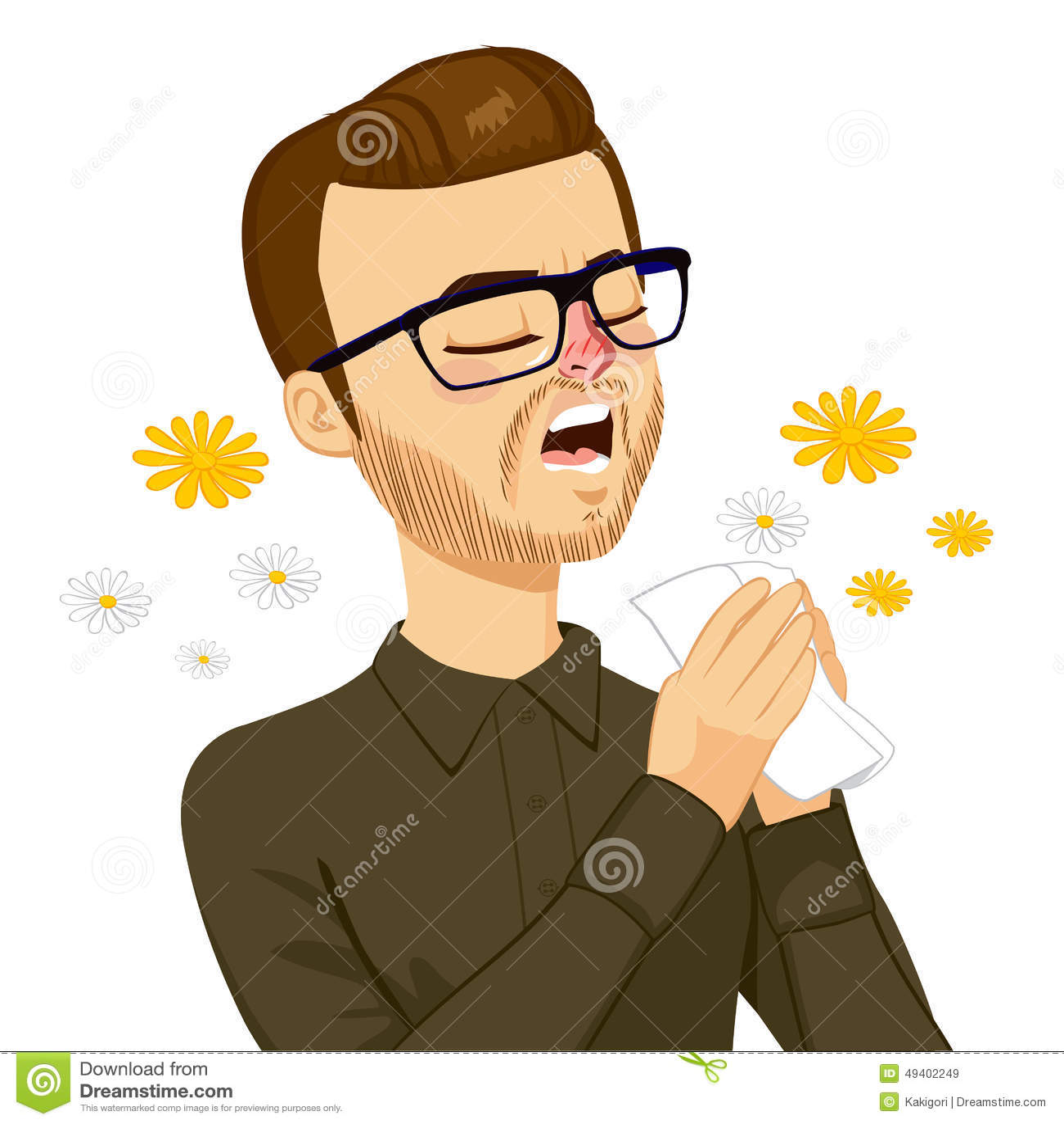 Download Mann, der geht zu niesen vektor abbildung. Illustration von fieber - 49402249