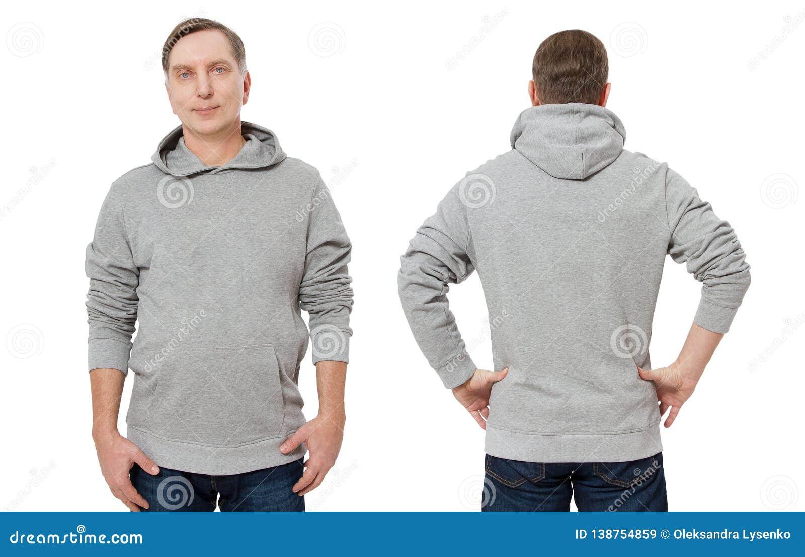 Mann in der grauen Sweatshirtschablone lokalisierte Männliche Sweatshirts eingestellt mit Modell- und Kopienraum Sweatshirtentwur