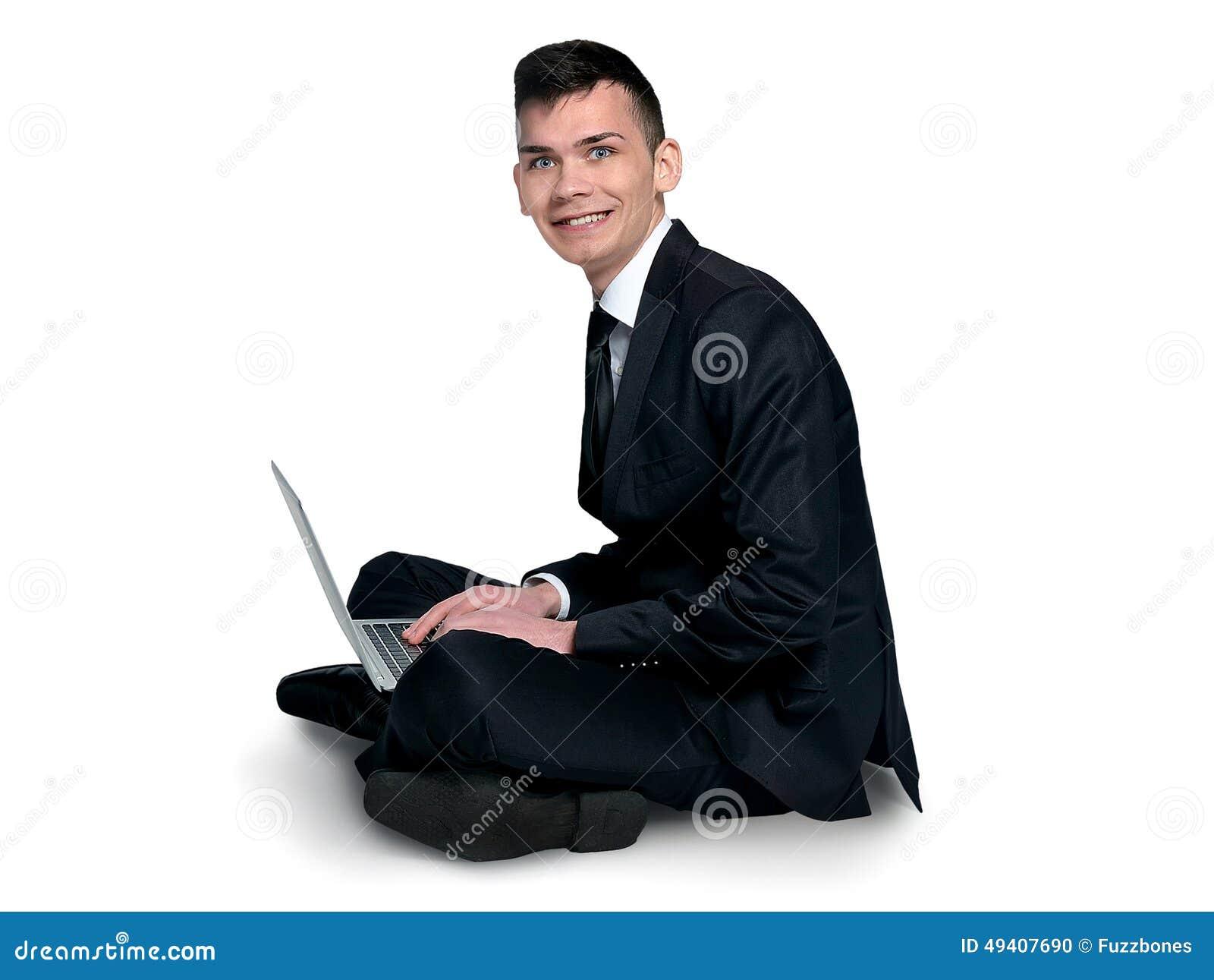 Download Mann, der Laptop verwendet stockfoto. Bild von erwachsener - 49407690