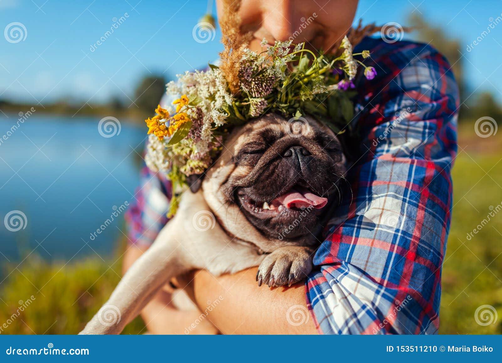 Mann, der Pughund mit Blumenkranz auf Kopf hält Mann, der mit Haustier durch Sommersee geht
