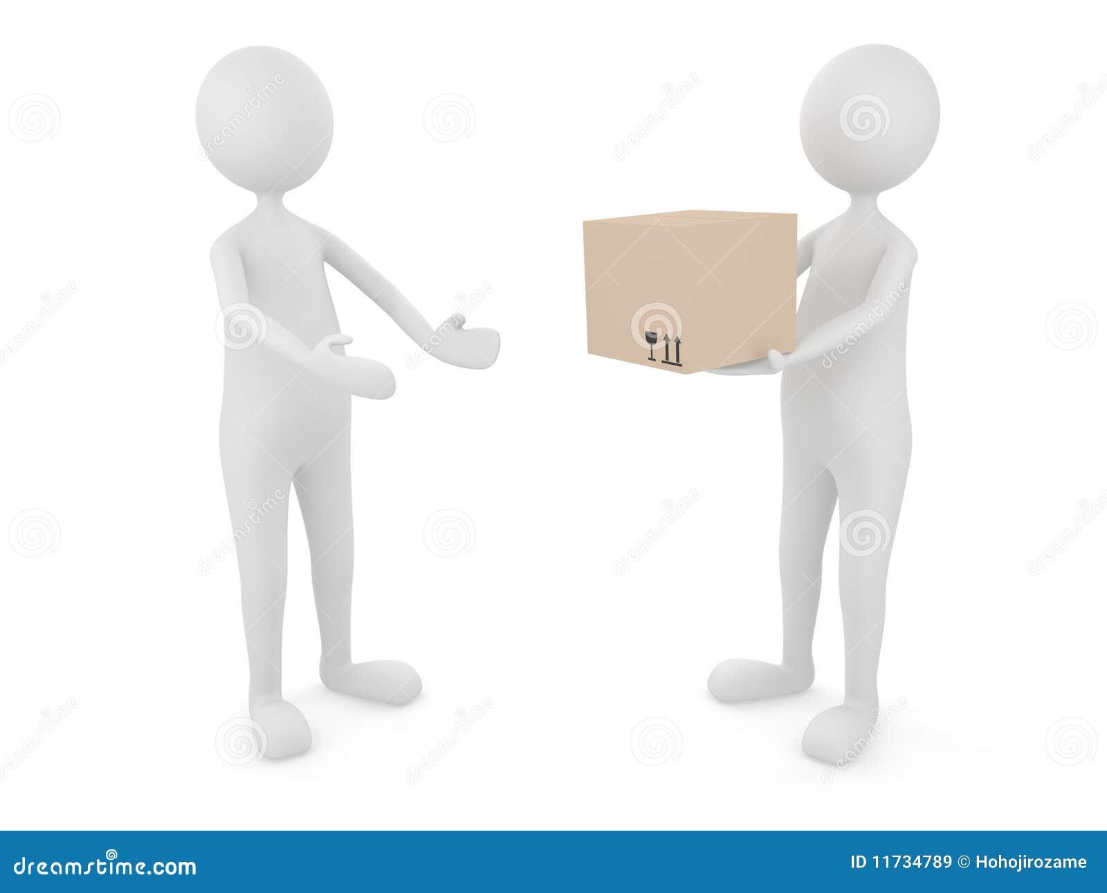 Mann, der Sammelpack an einen Klienten liefert