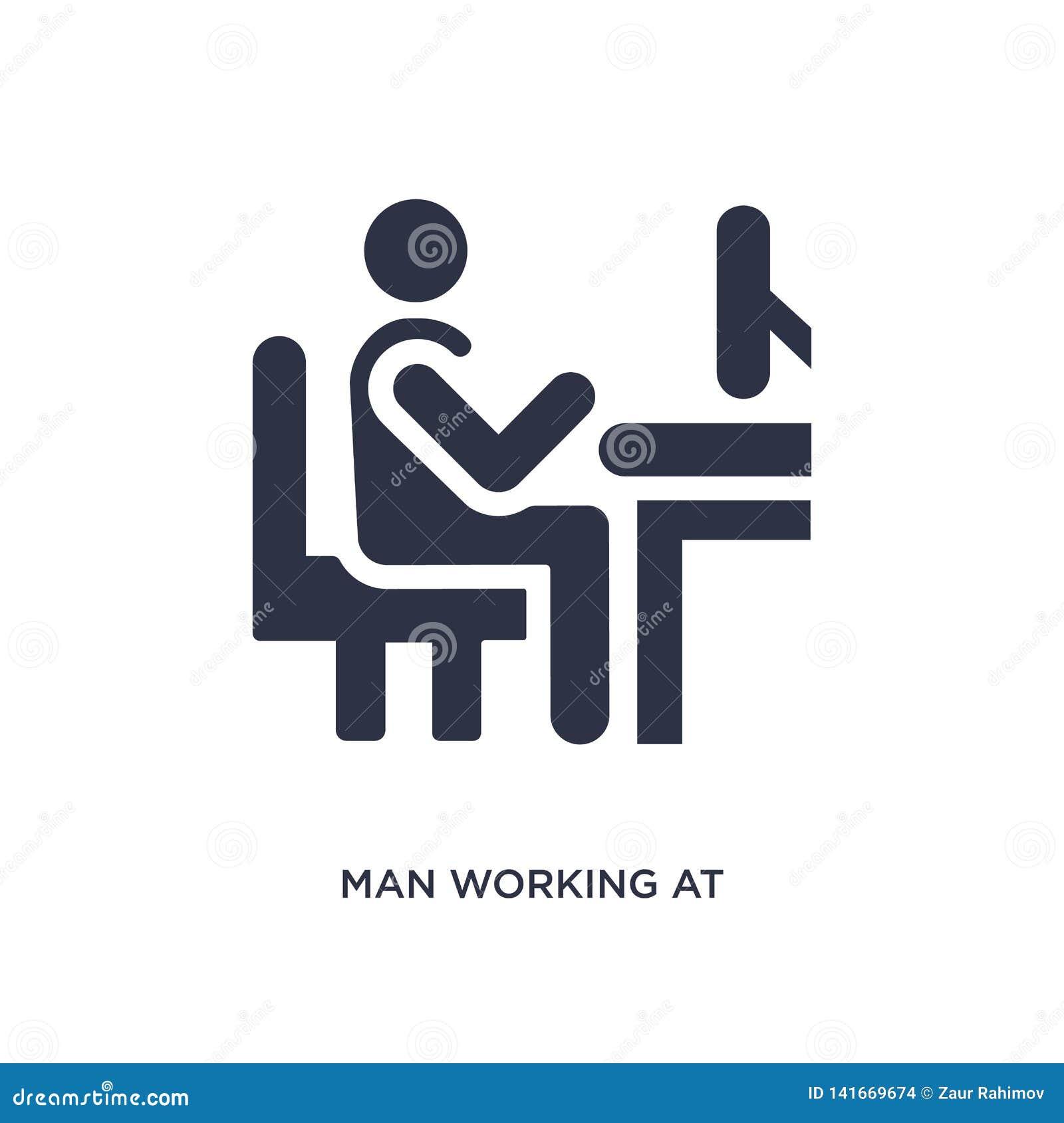 Mann, der an der Schreibtischikone auf weißem Hintergrund arbeitet Einfache Elementillustration vom Verhaltenkonzept