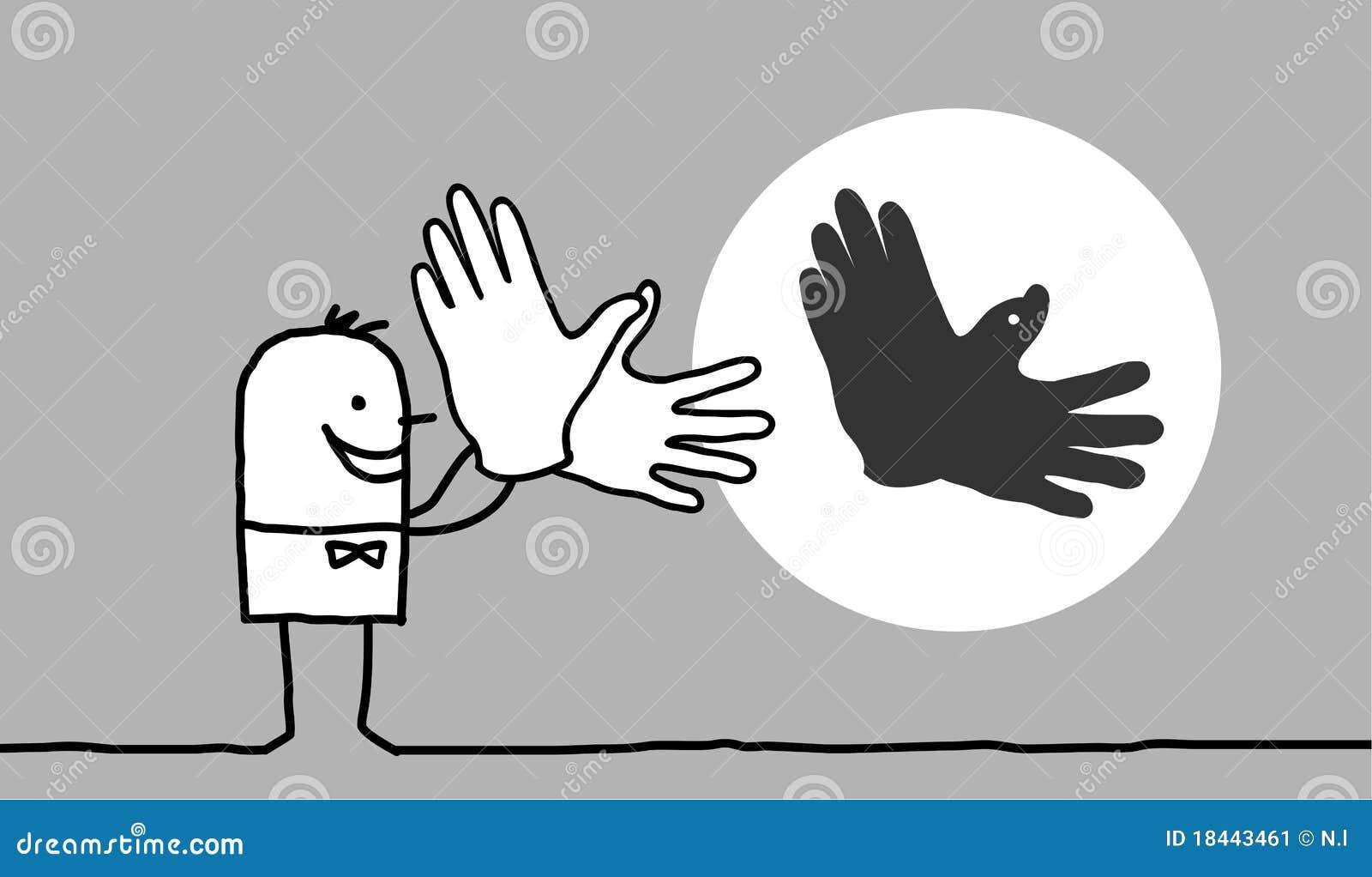 Mann, der Vogelschatten mit den Händen bildet