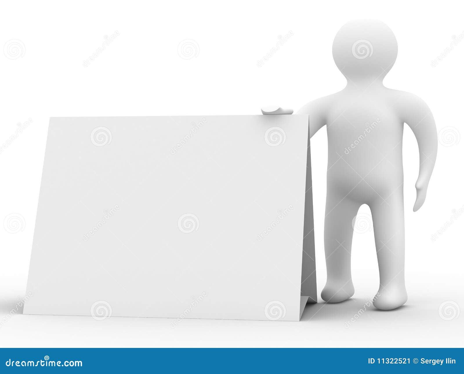 Mann hält das Plakat in einer Hand an