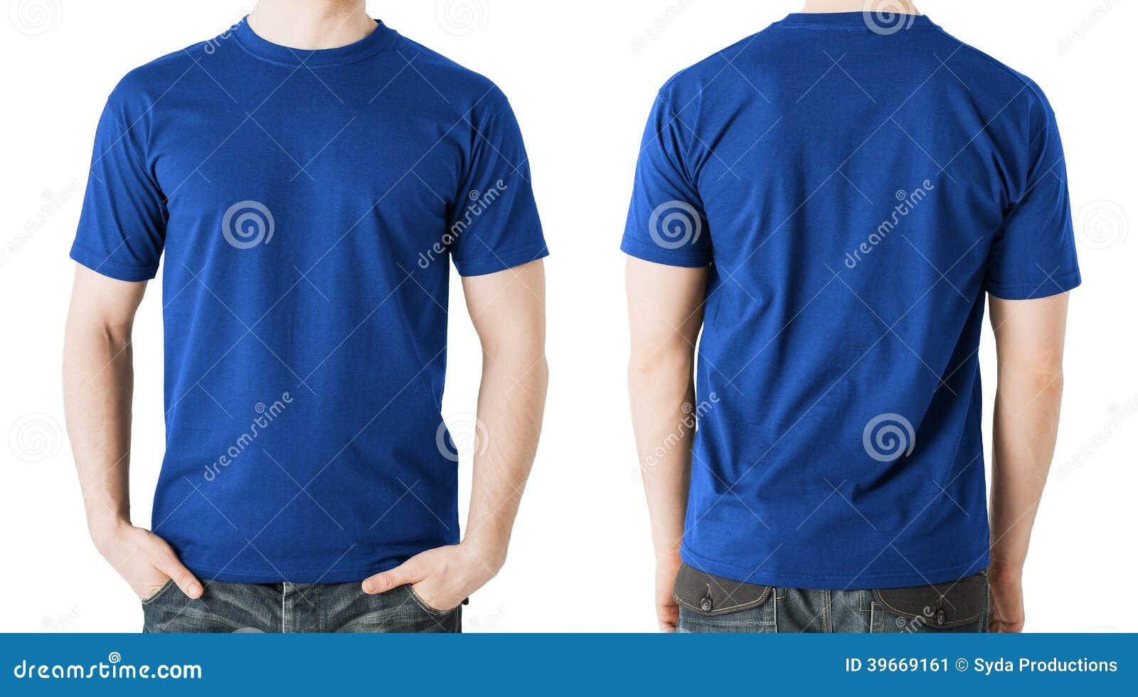 Mann im leeren blauen T-Shirt, in der Front und in der hinteren Ansicht