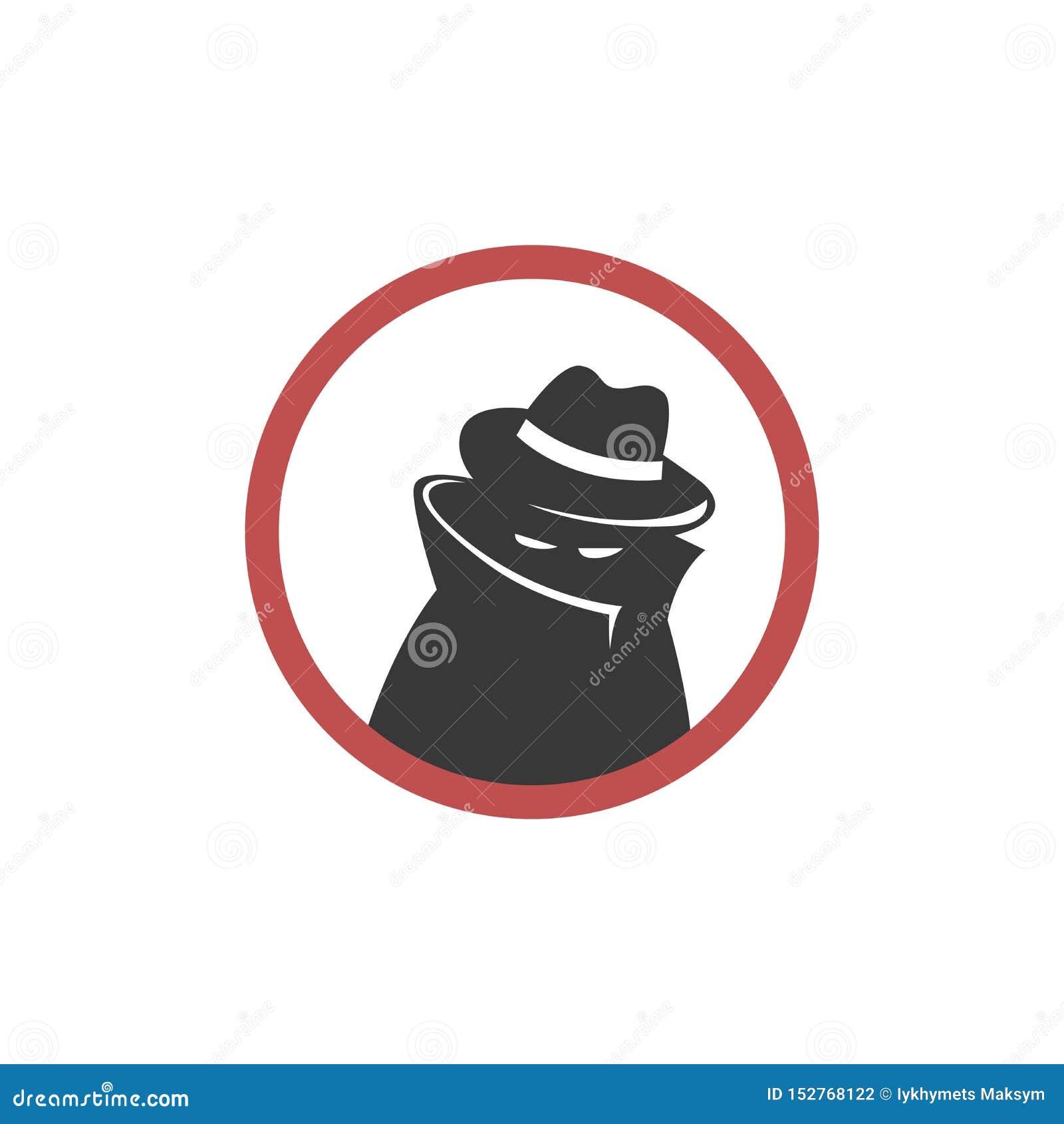Mann im schwarzen Anzug mit der Maske auf weißem Hintergrund Streng geheim Service-Mittel