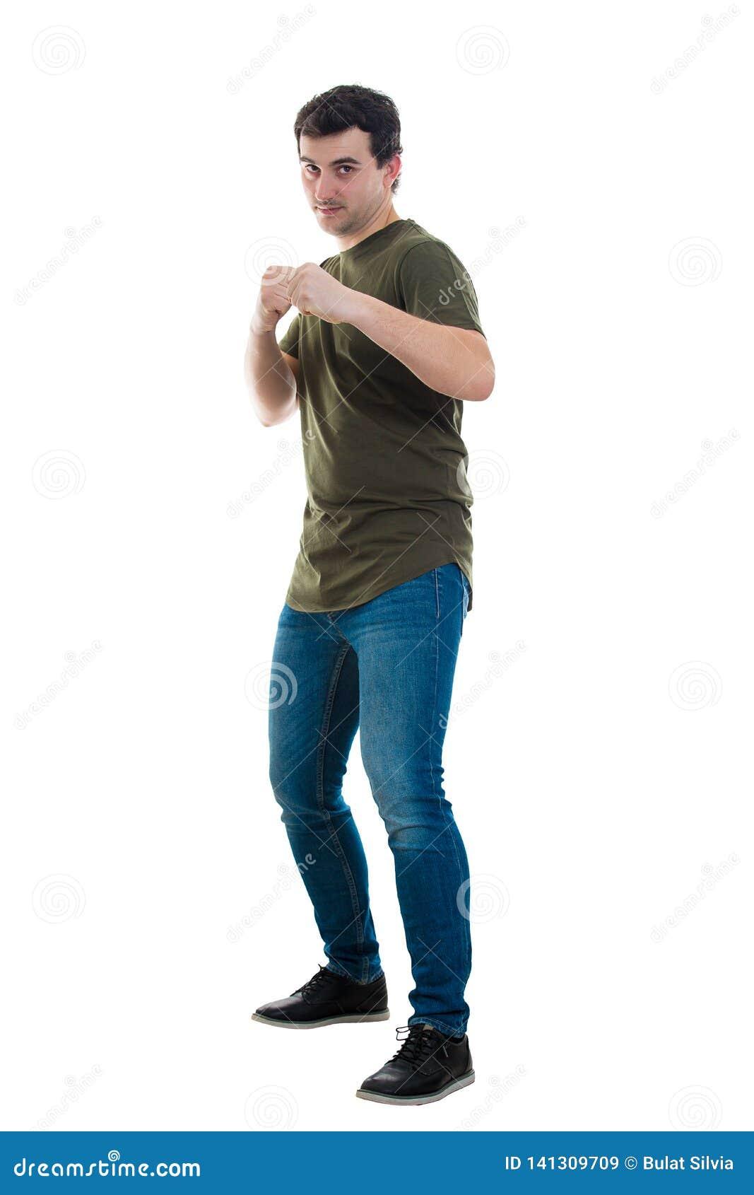 Mann in Kampfposition