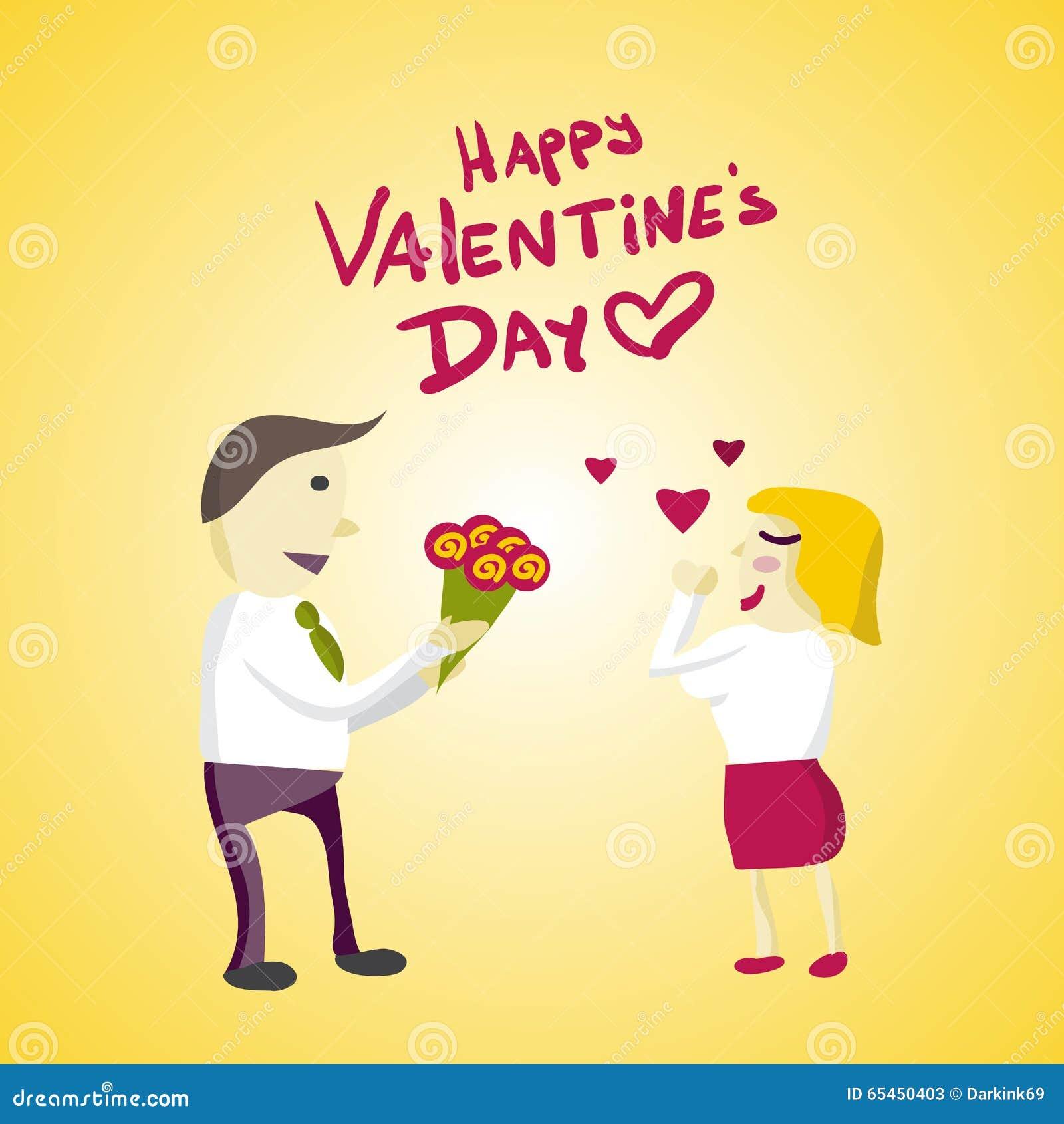 Mann Manager Gibt Blumenfrau Am Valentinstag