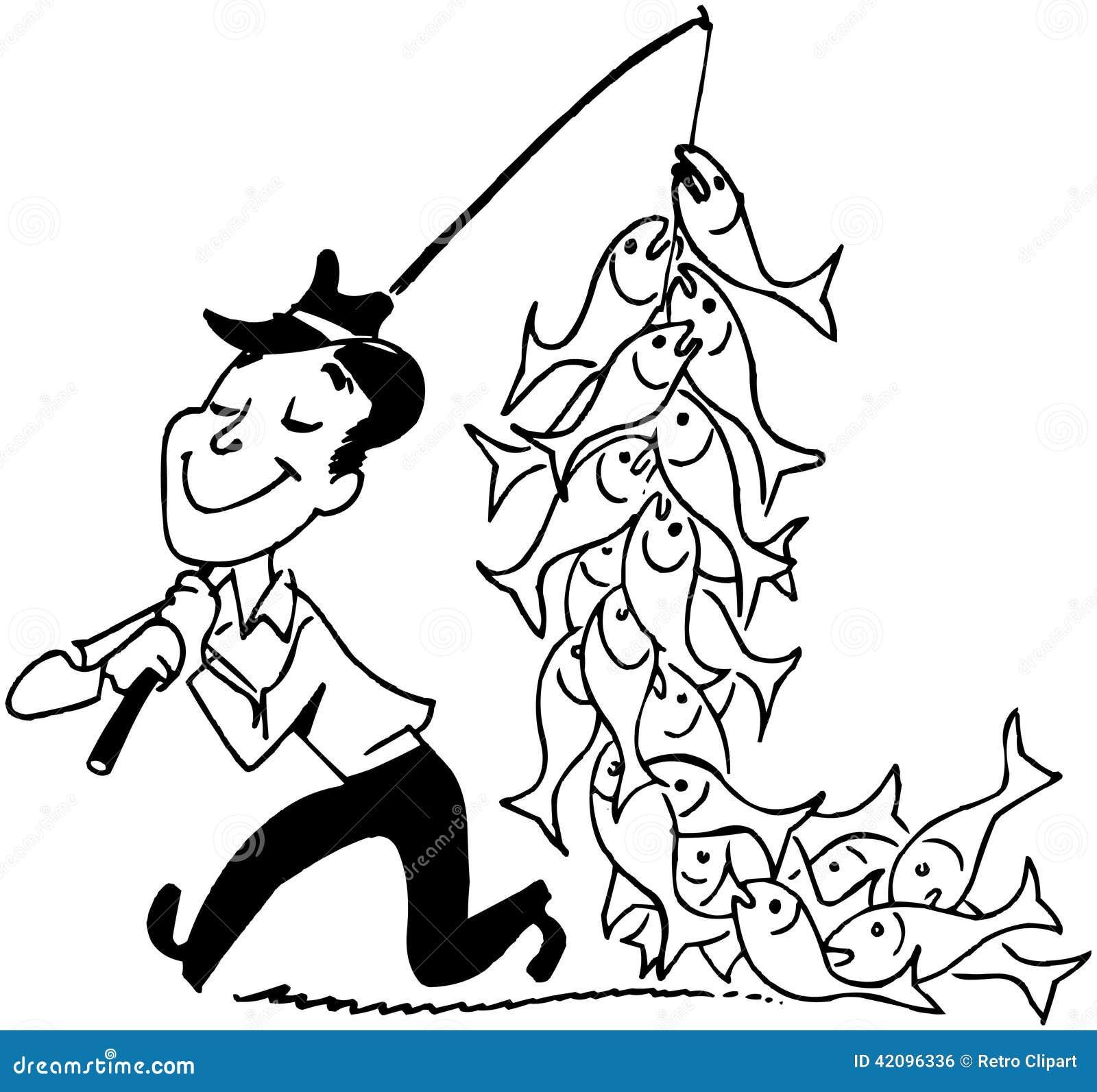 mann mit fischen vektor abbildung bild von fischer wanderer 42096336. Black Bedroom Furniture Sets. Home Design Ideas