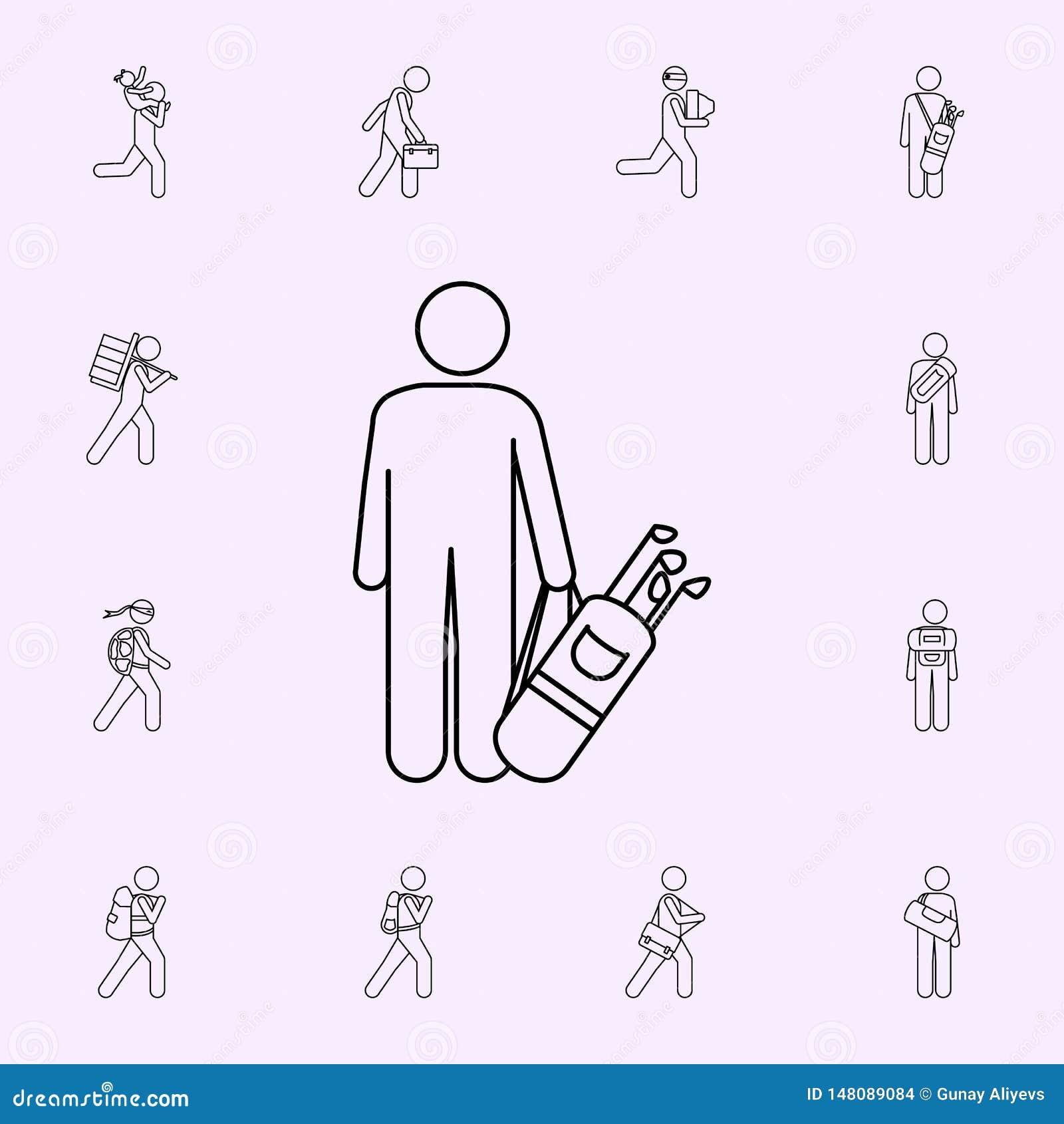 Mann mit Golftascheillustrationsikone M?nnlicher Taschen- und Gep?ckikonenuniversalsatz f?r Netz und Mobile