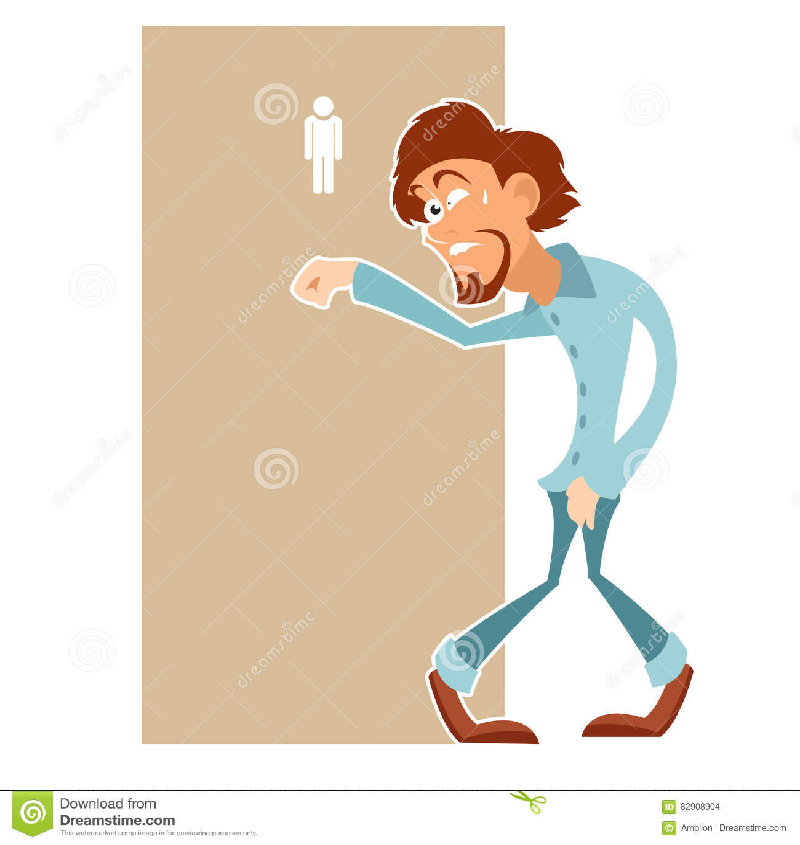 Mann Muss Wirklich Die Toilette Besuchen Vektor Abbildung