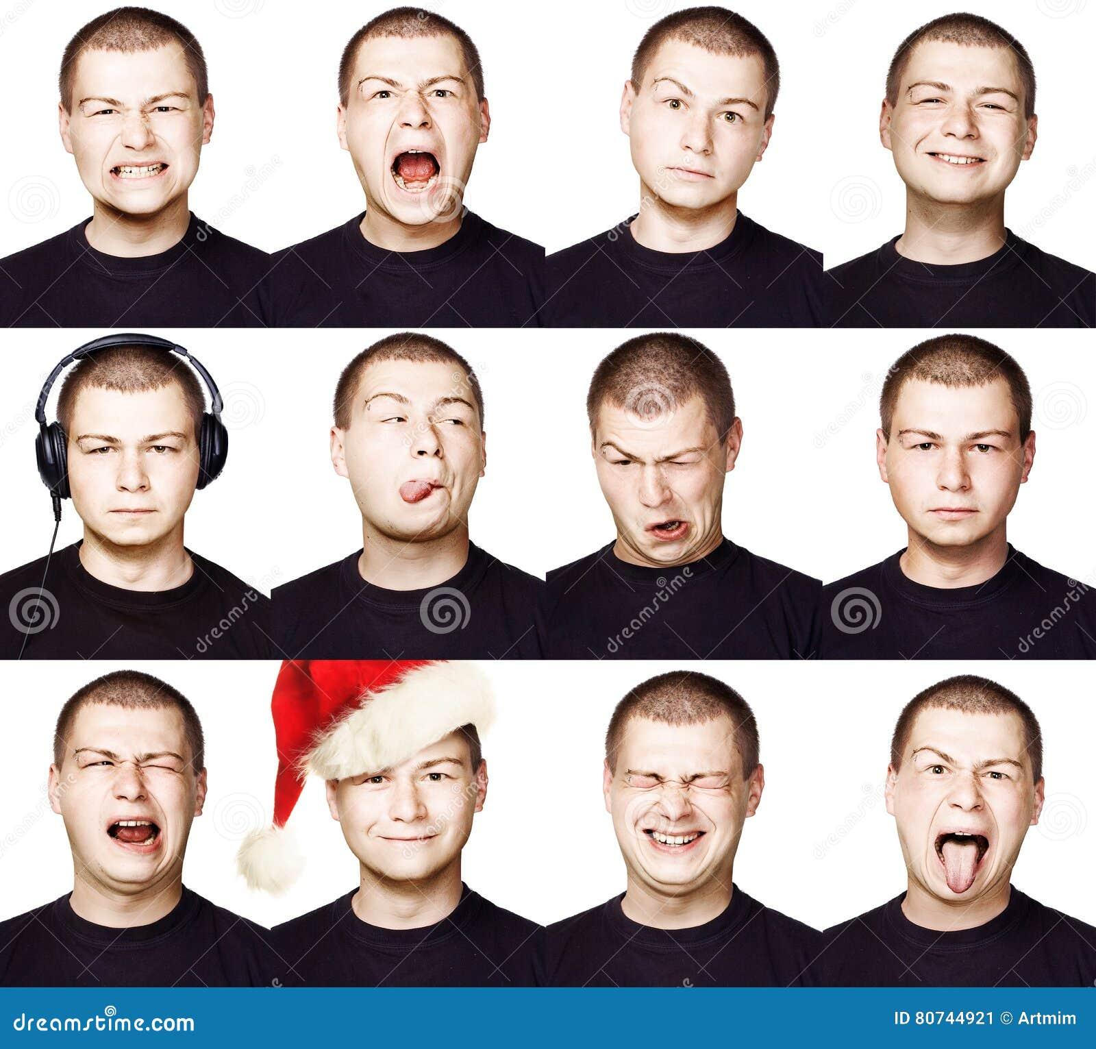 Mann Satz verschiedene Gesichtsausdrücke oder Gefühle