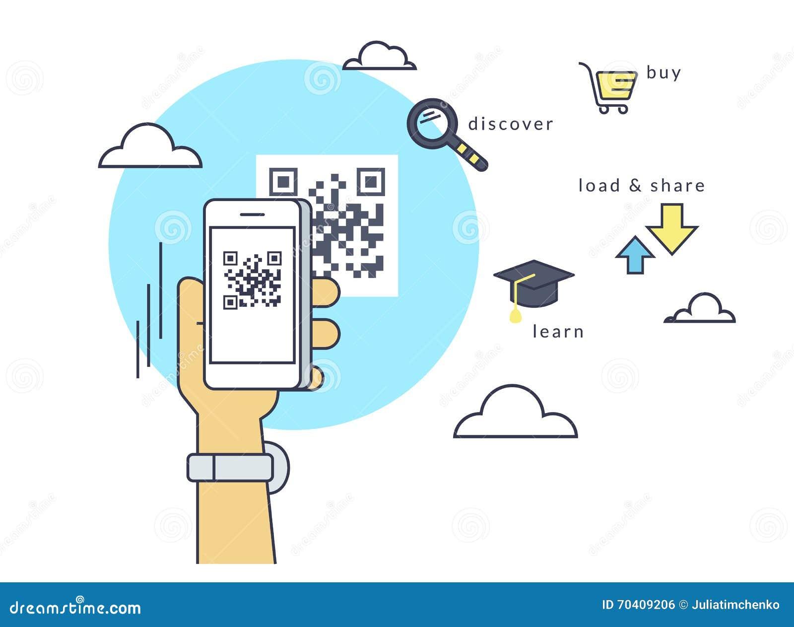 Mann scannt QR-Code über Smartphone-APP