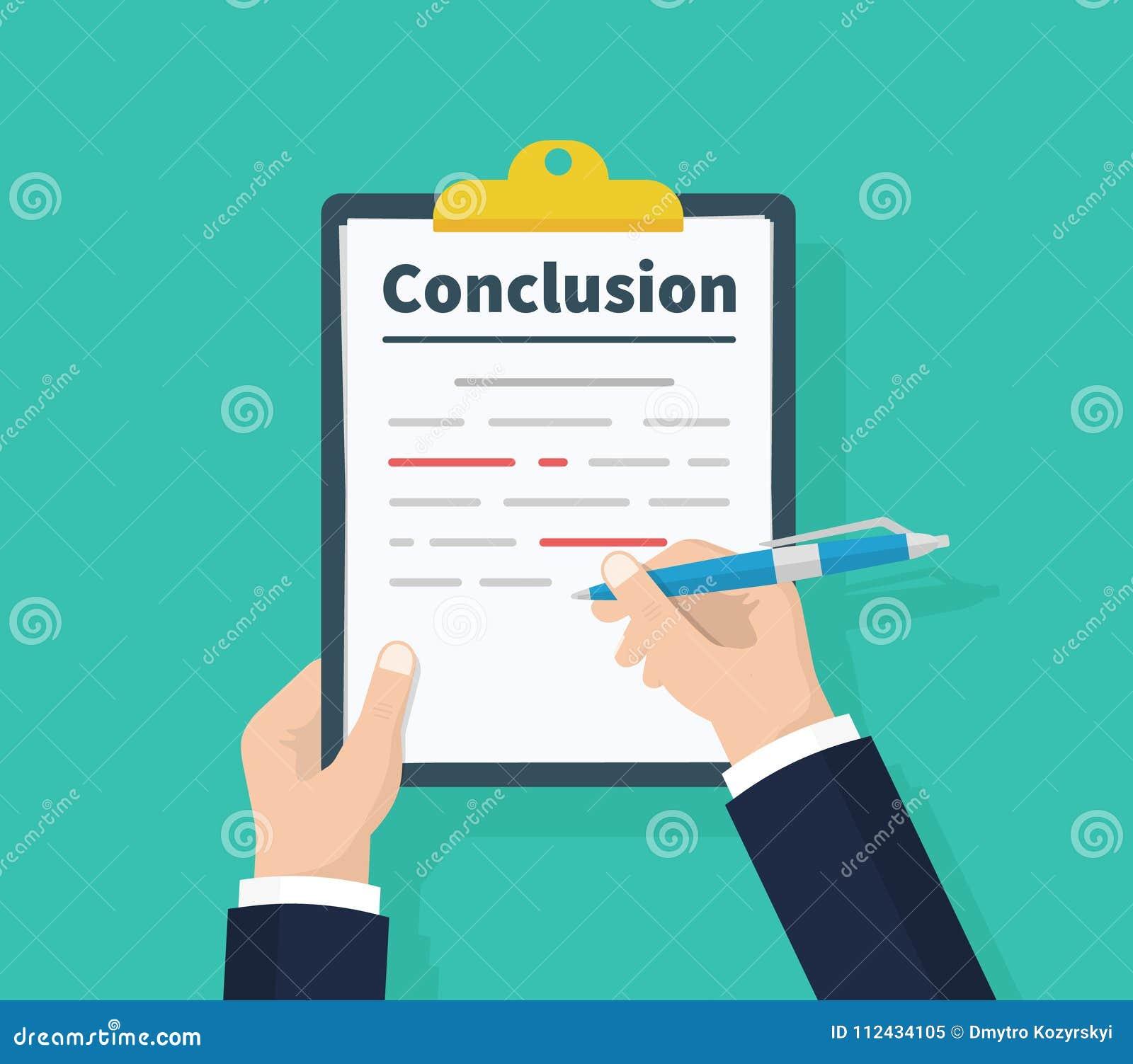 Mann Schreibt Schlussfolgerung Berichtskonzept Das Klemmbrett Und