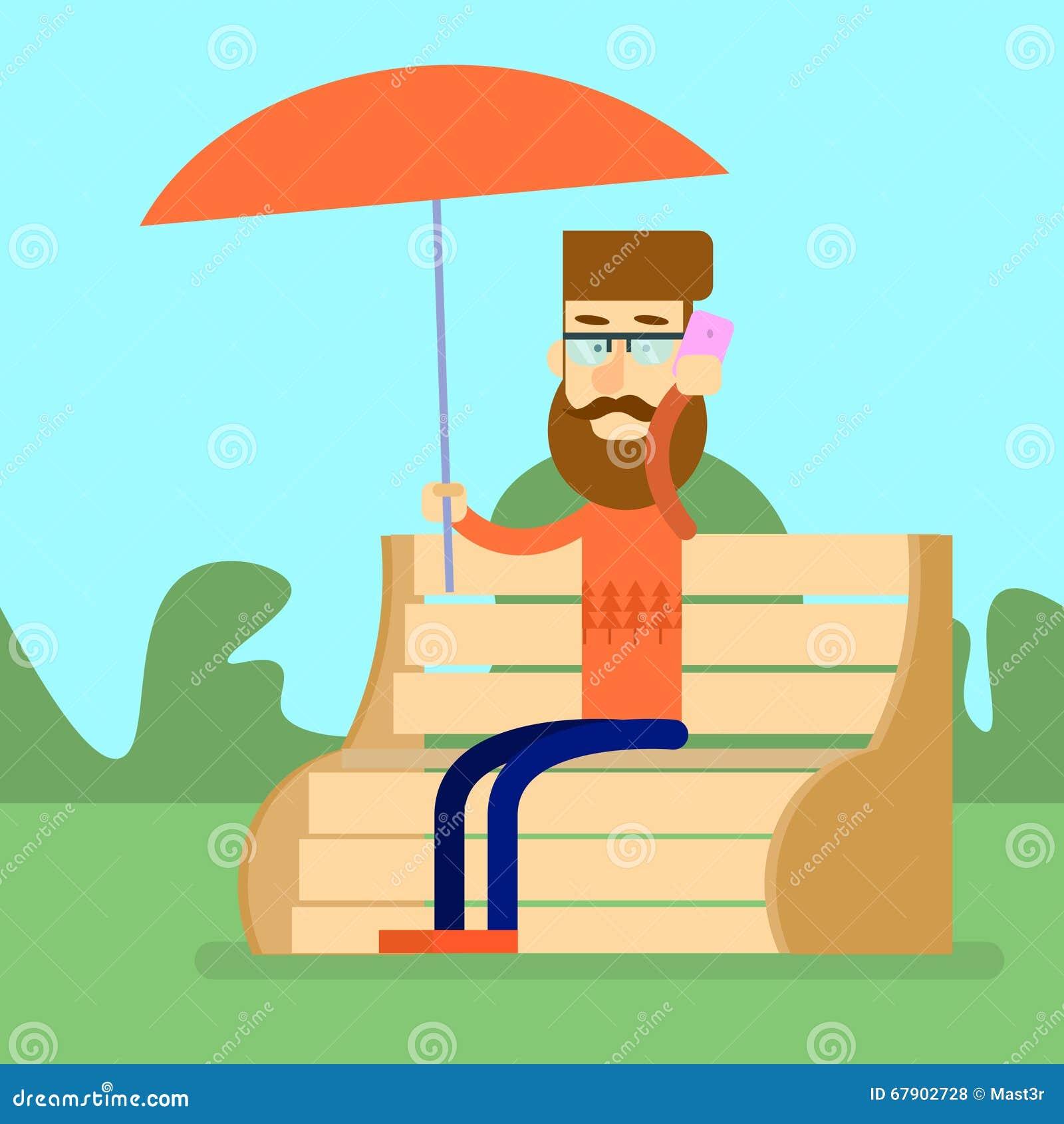 Mann-Sit On Bench Park Hold-Regenschirm sprechen an Zell-Smart-Telefon