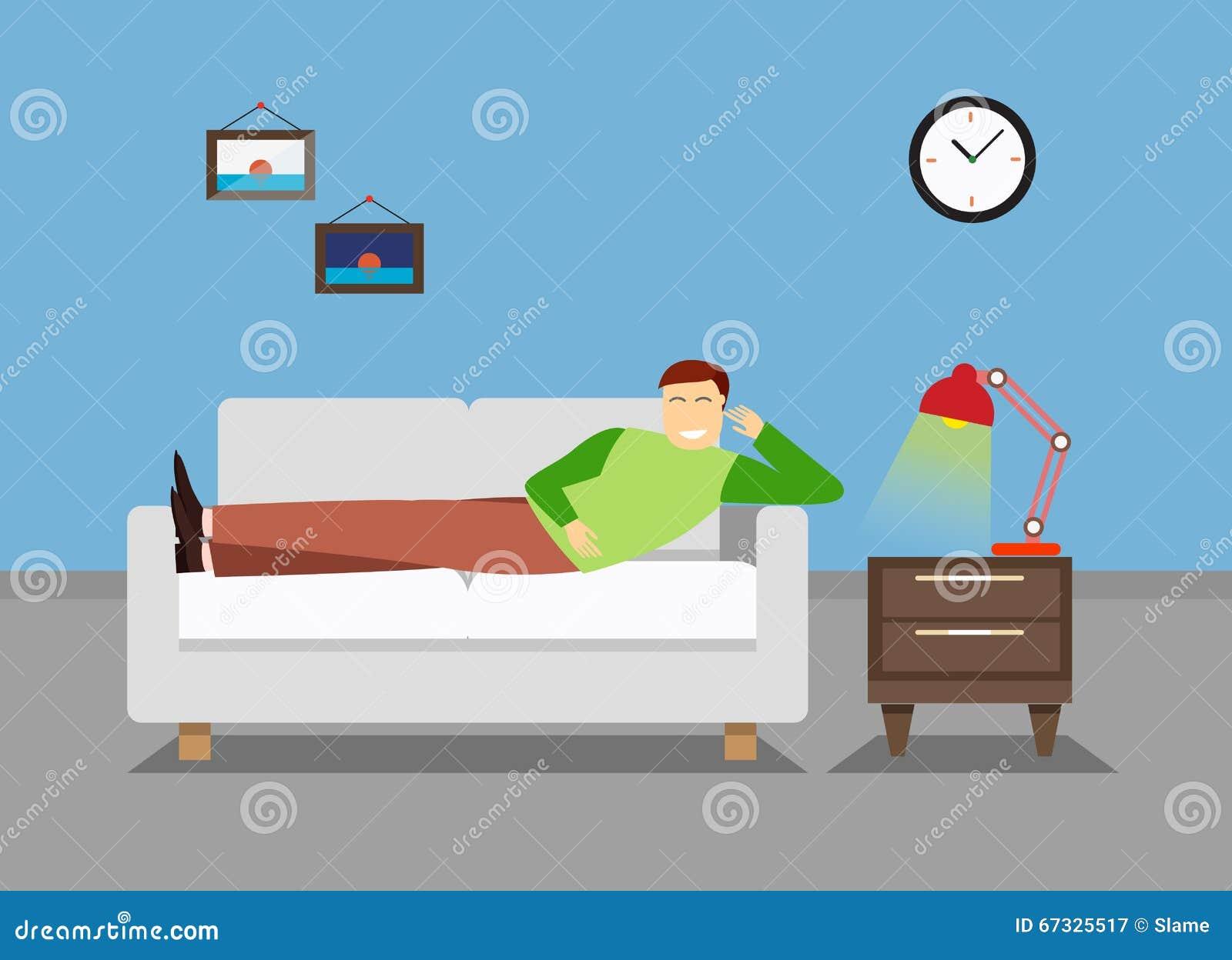 Mann Steht Im Schlafzimmer Auf Der Couch Oder Dem Sofa Still ...