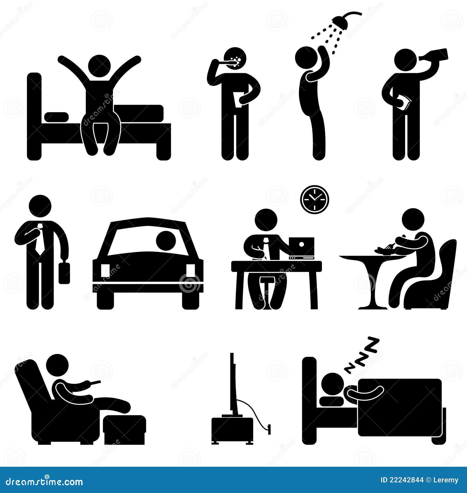 Mann-tägliches Routineleute-Ikonen-Zeichen