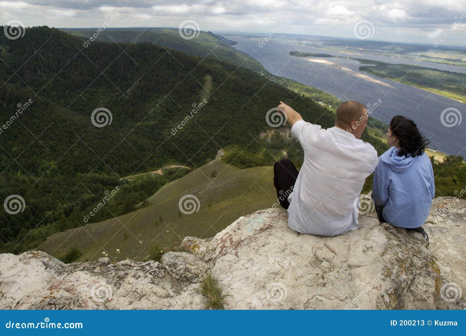 Mann und Frau auf die Oberseite
