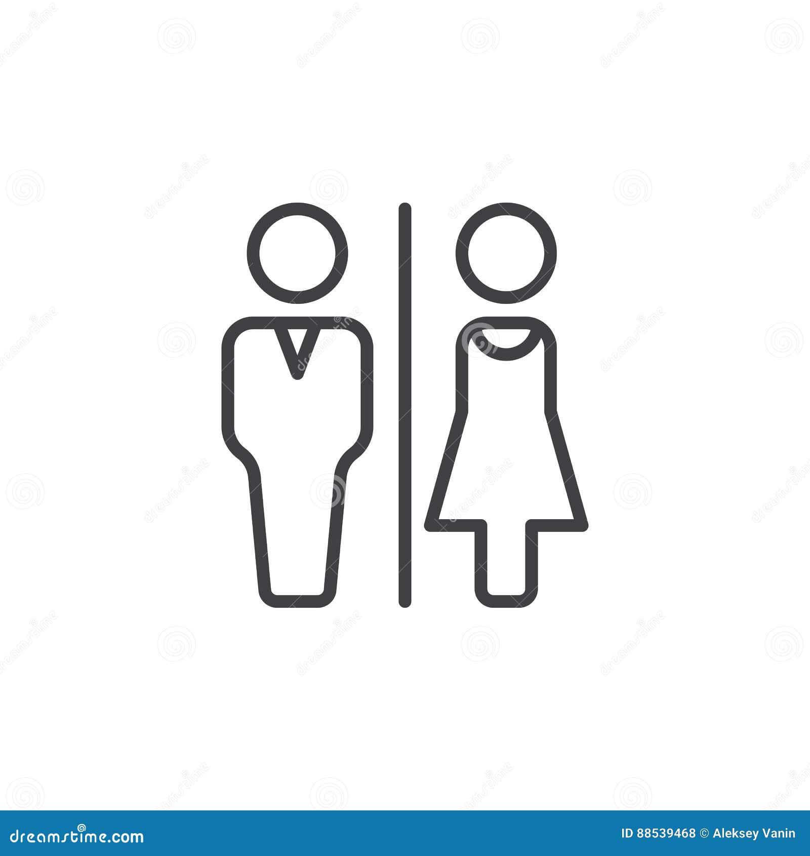 Mann- und Frauentoilette zeichnen Ikone, Entwurfsvektorzeichen, das lineare Piktogramm, das auf Weiß lokalisiert wird
