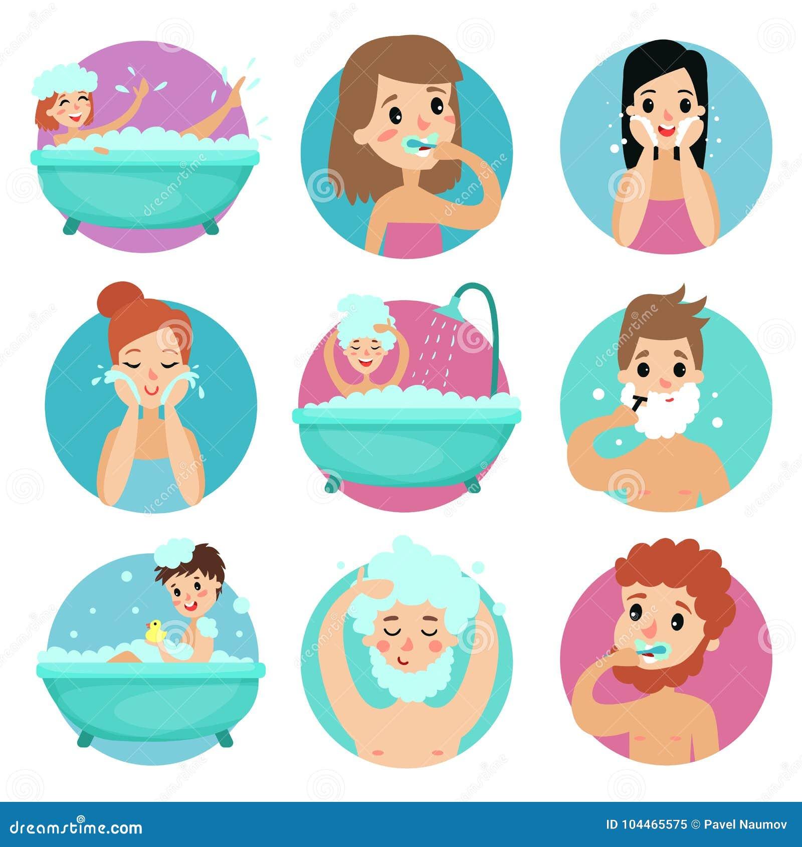 Mann und weibliche Figuren, die Badezimmerverfahren, Illustration Vektor der persönlichen Hygiene des Morgens tun