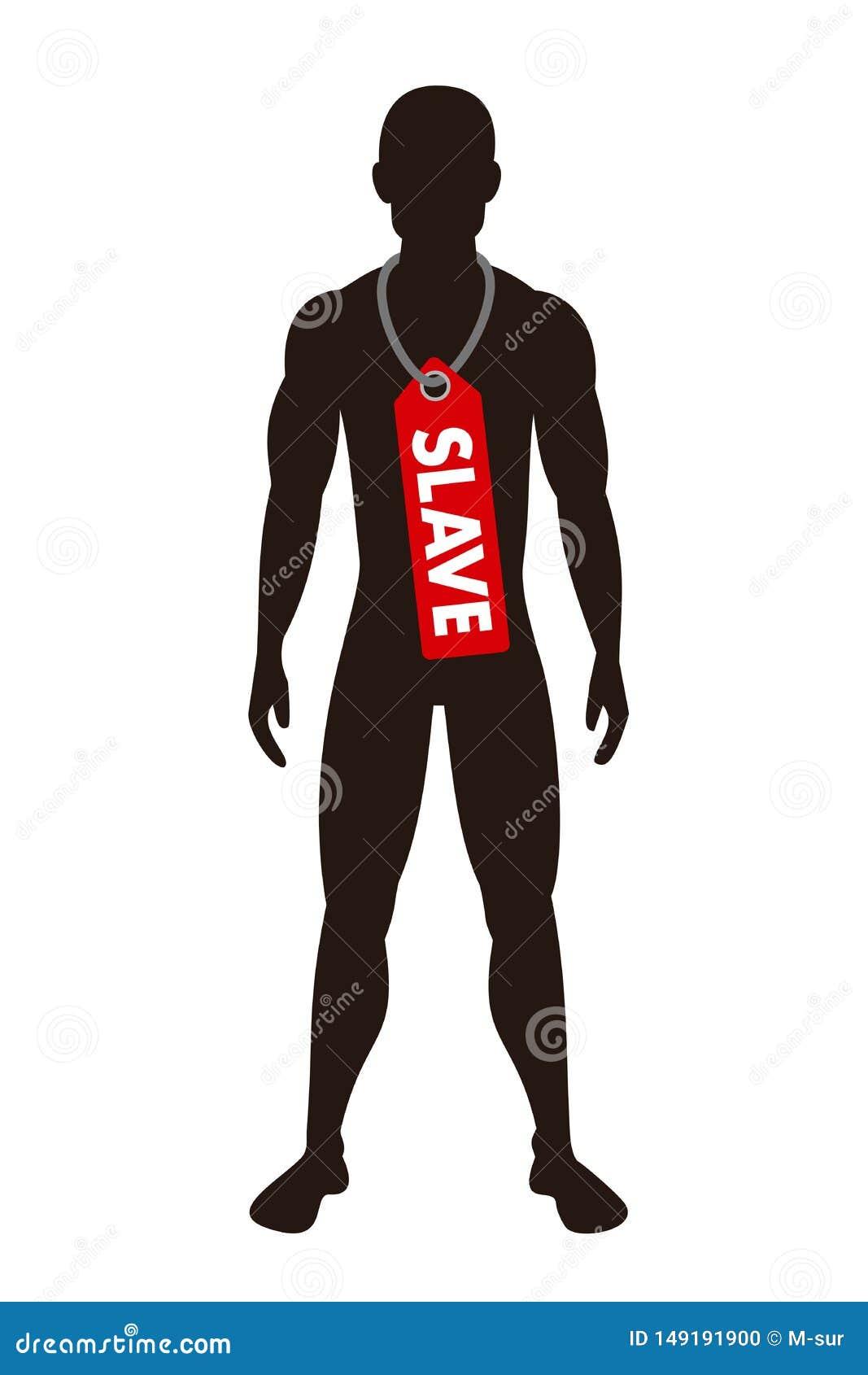 Mann und Mann wird als Sklave - Sklaverei, Knechtschaft, Sklaverei und menschliches Handeln beschriftet