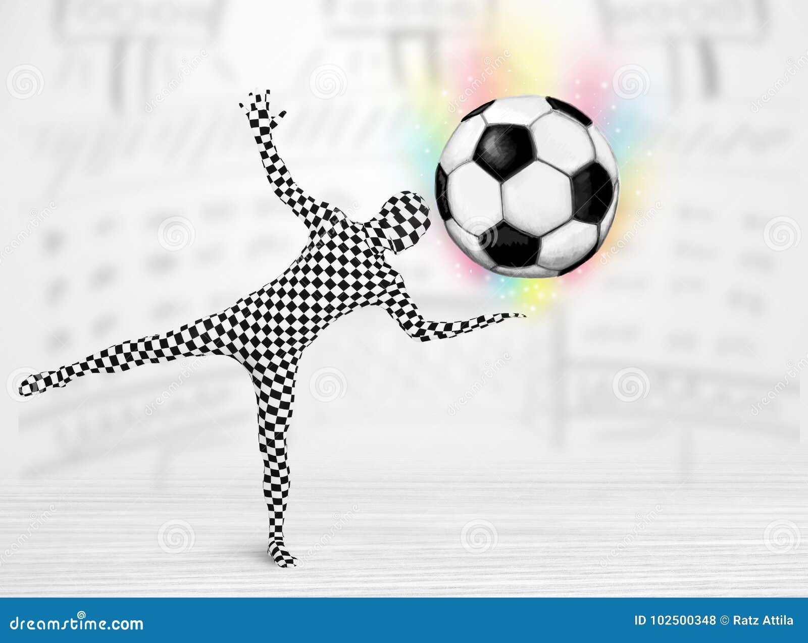Mann in vollem Körperklage holdig Fußball